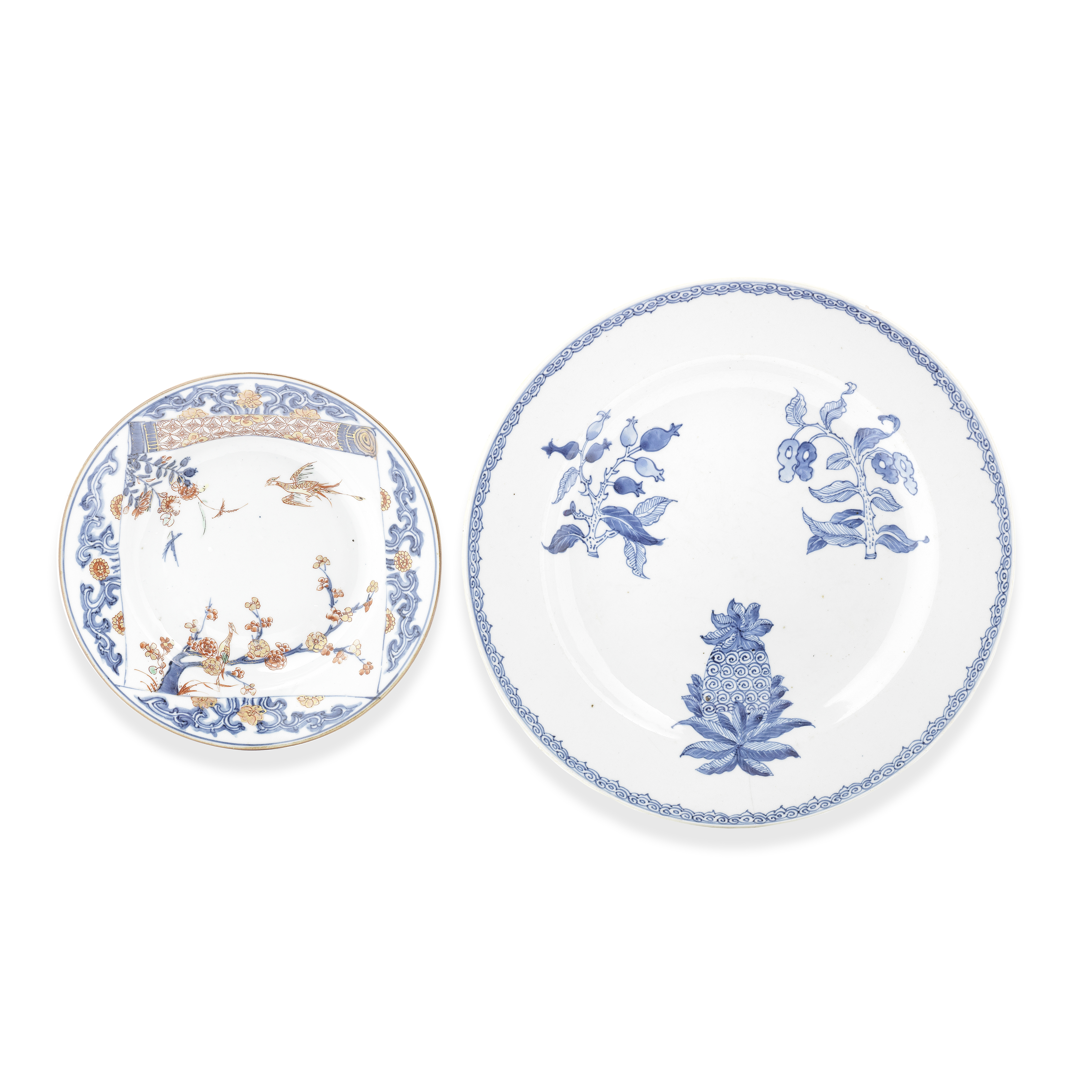 A VERTE-IMARI DISH AND AN UNUSUAL BLUE AND WHITE 'BOTANICAL' CHARGER 18th century (2)
