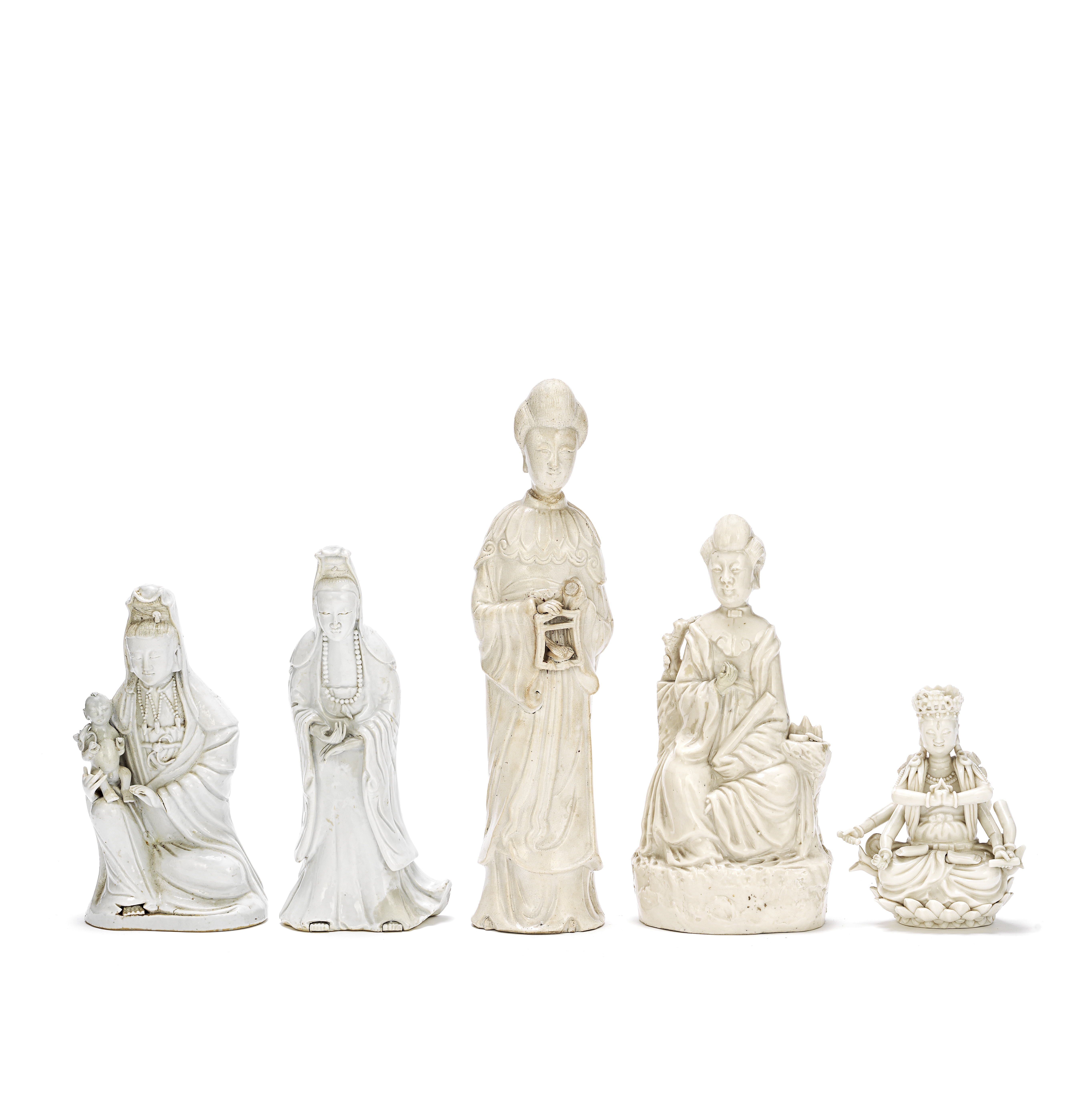 A GROUP OF FIVE BLANC-DE-CHINE FIGURES 19th/20th century (5)