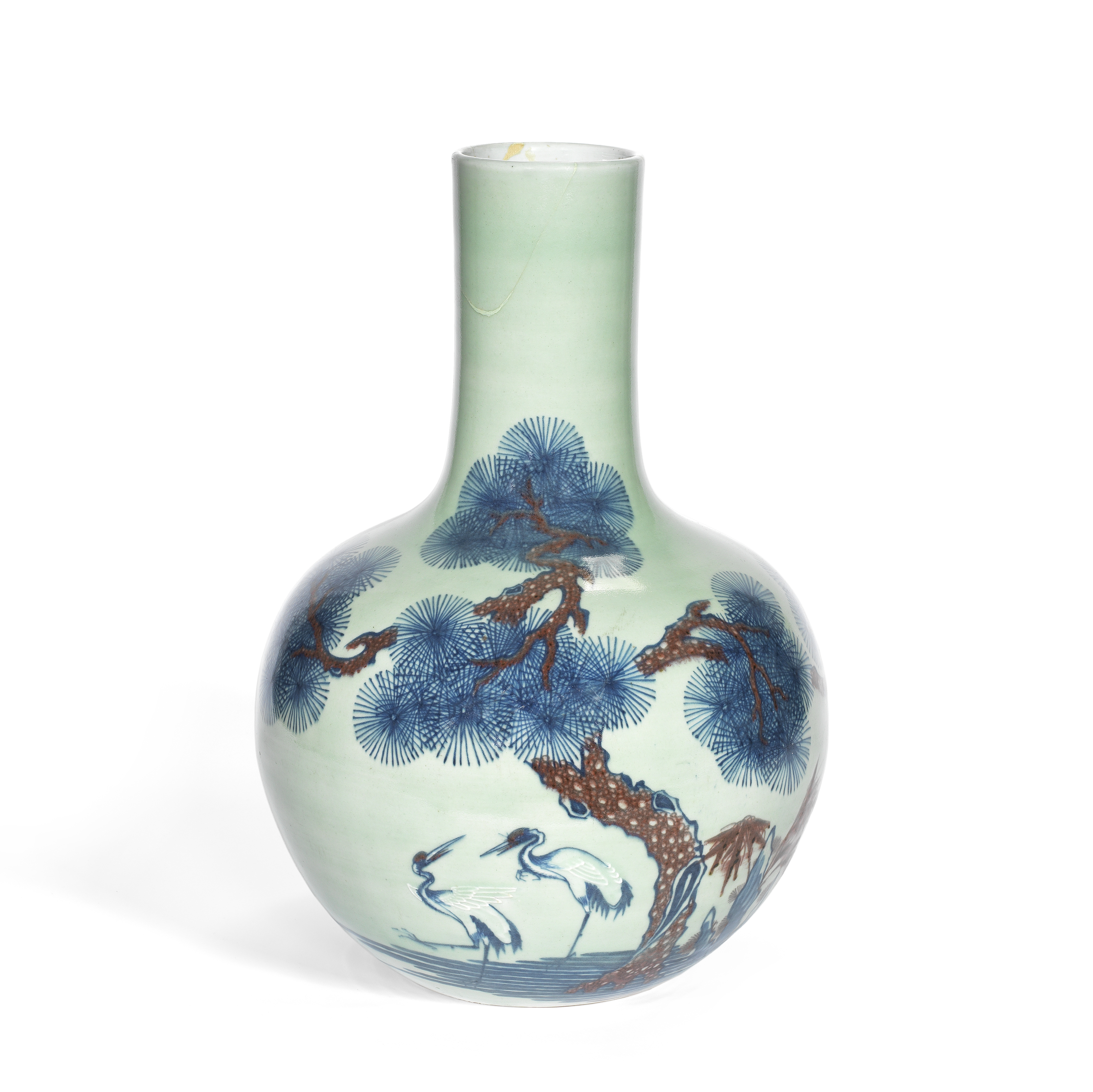 A CELADON-GROUND UNDERGLAZE BLUE AND COPPER-RED VASE, TIANQIUPING 19th century