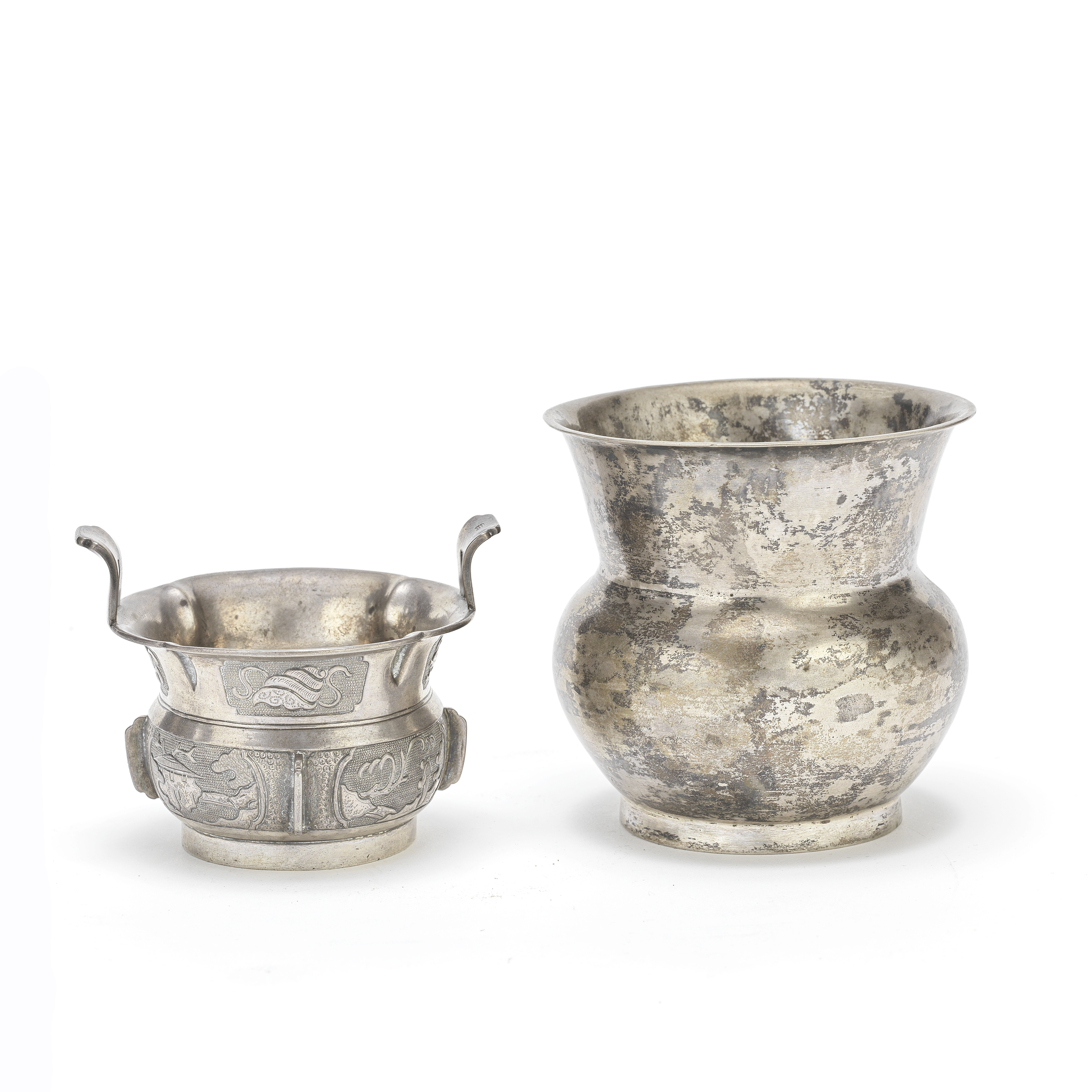 A SMALL SILVER INCENSE BURNER AND A SILVER SPITTOON, ZHADOU Qing Dynasty (2)