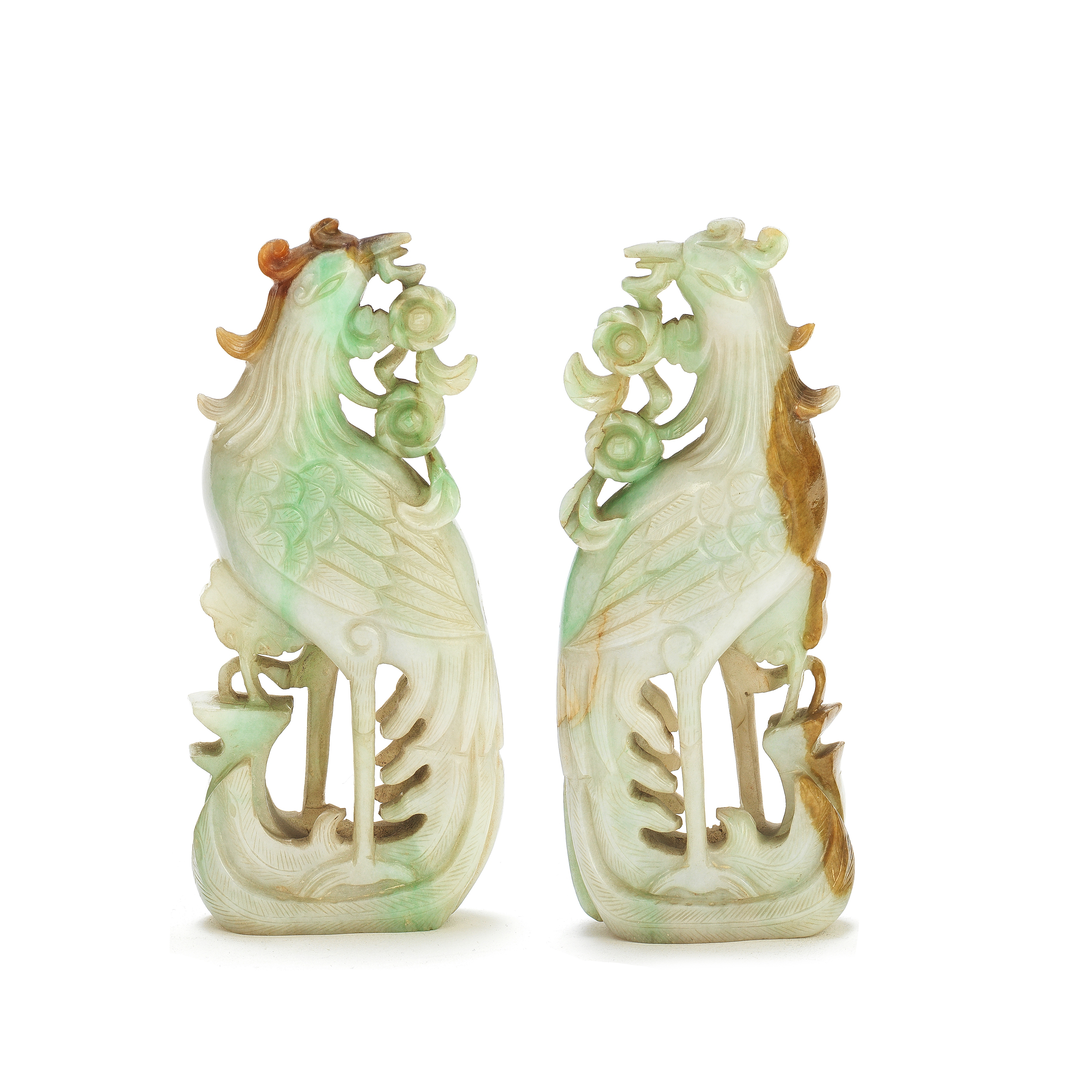 A PAIR OF JADEITE BIRDS Late Qing Dynasty (4)