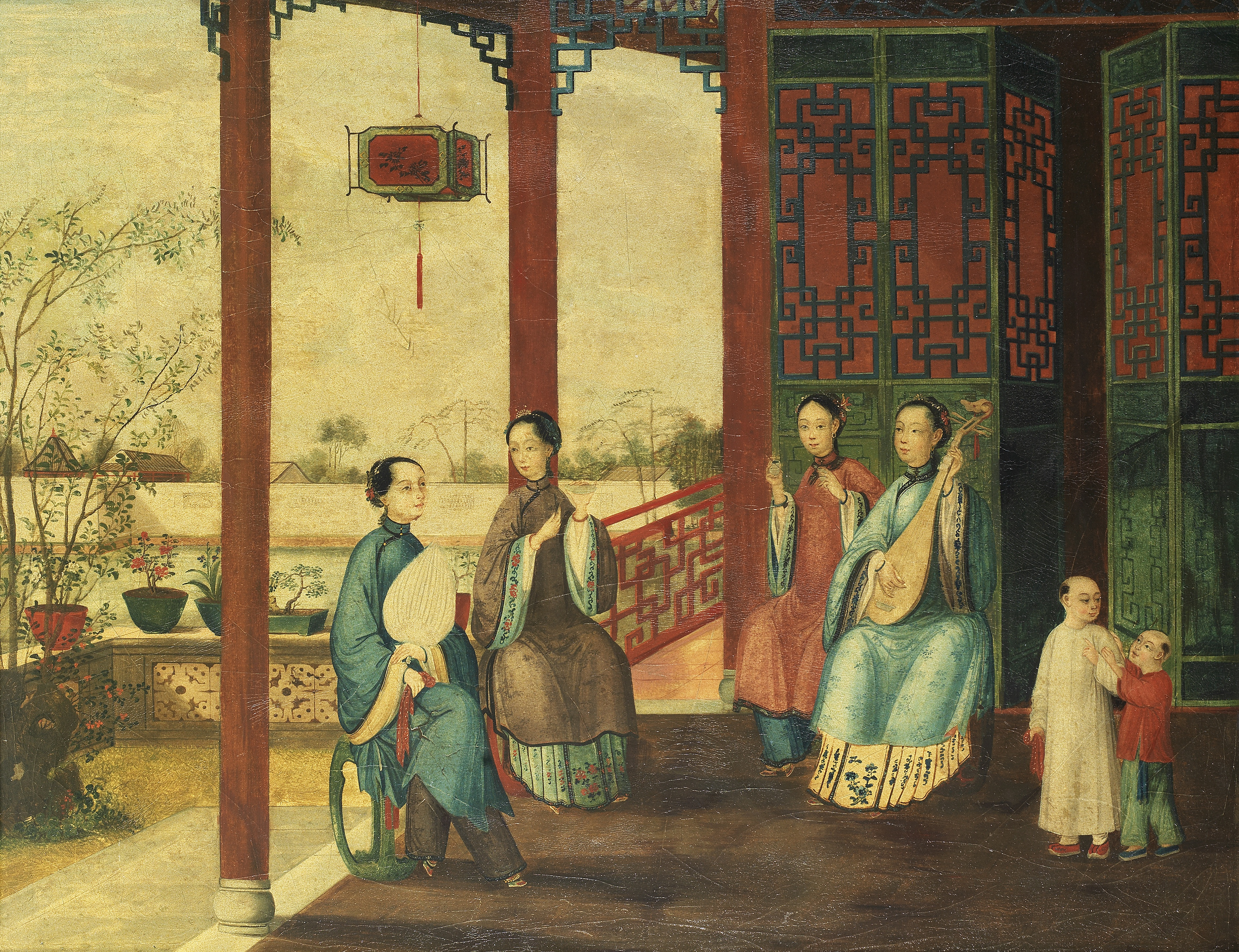 ANONYMOUS, CHINESE EXPORT SCHOOL (19TH CENTURY) 'Ladies in a Pavillion'