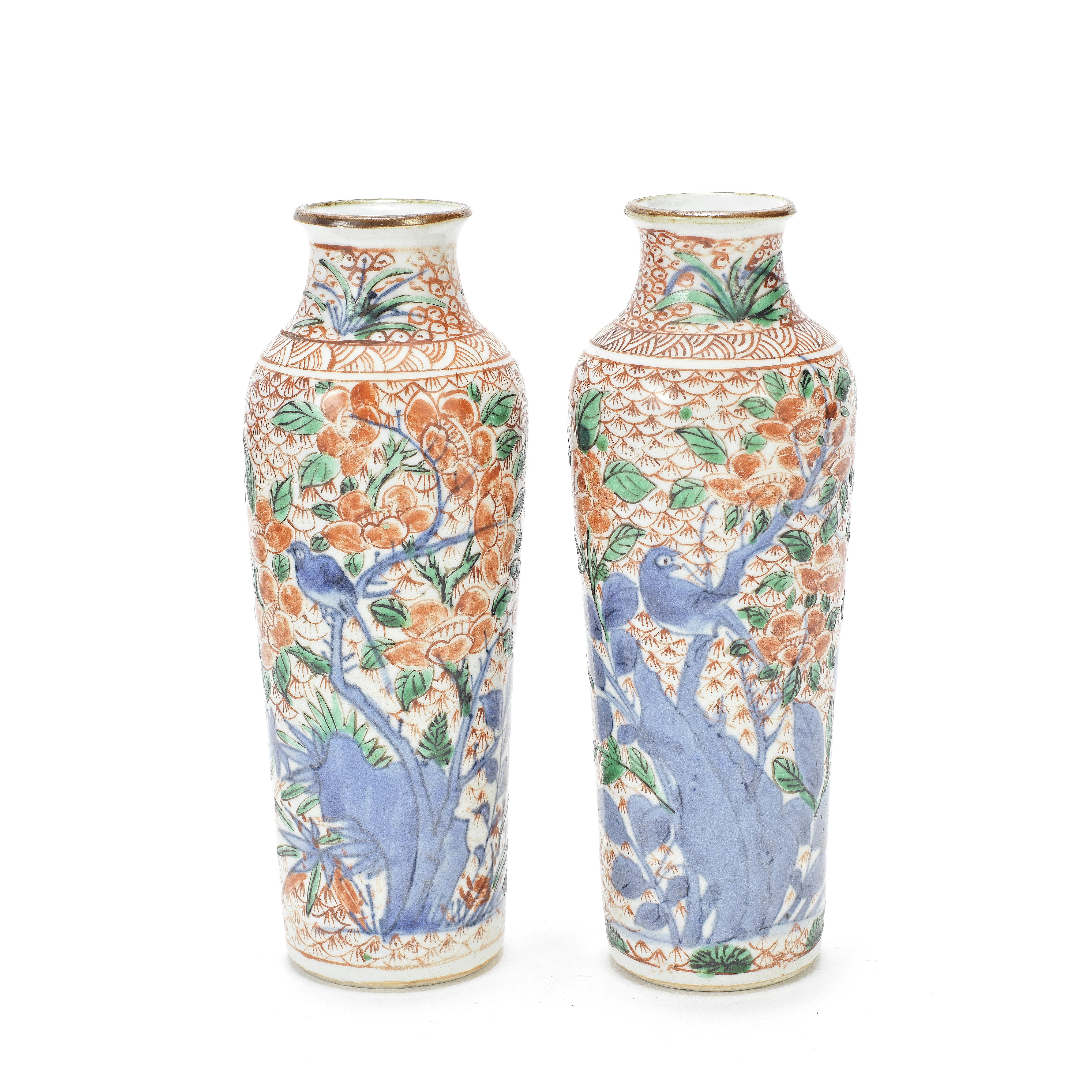 A PAIR OF WUCAI SLEEVE VASES 17th century (3)