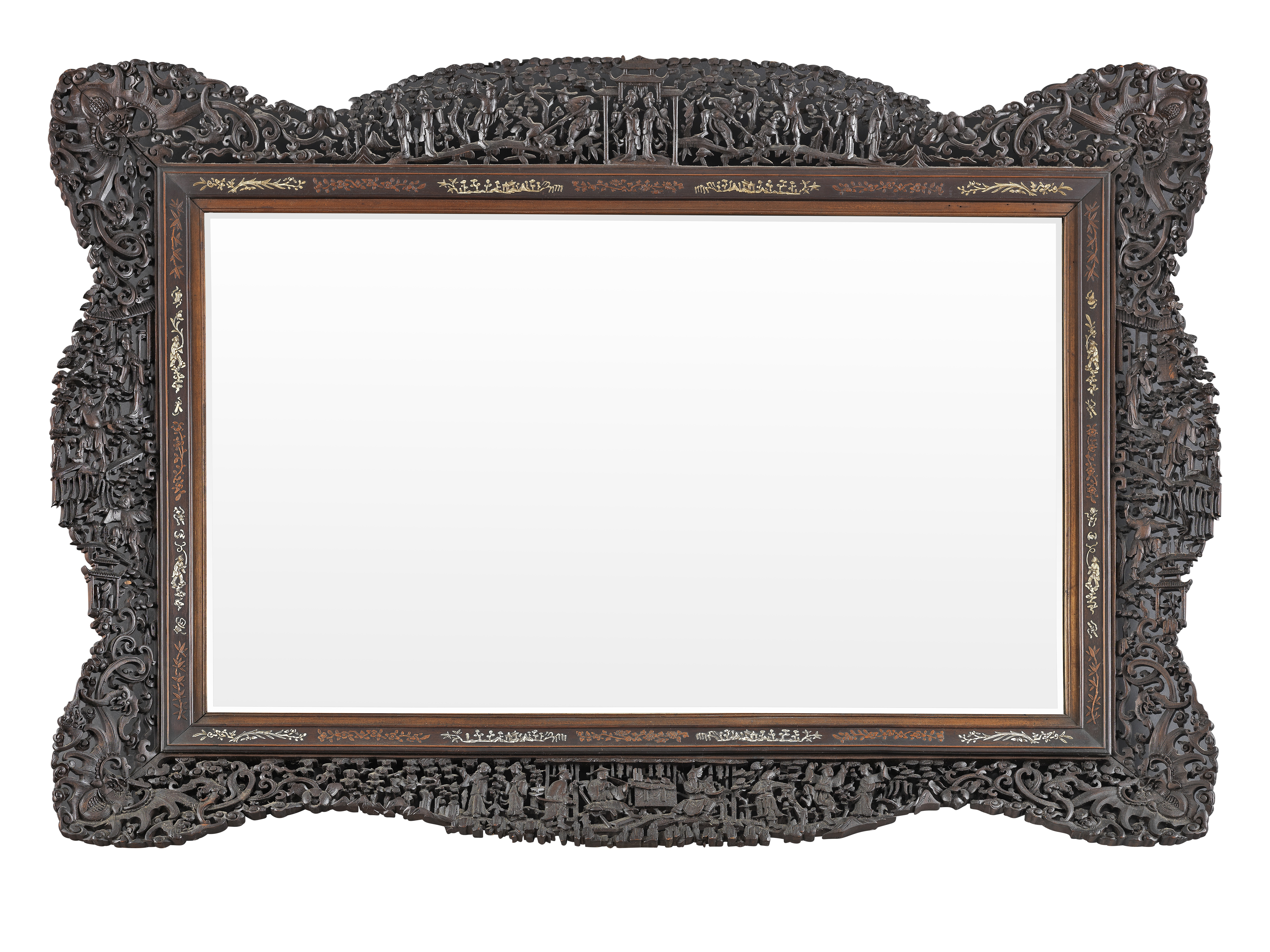 A LARGE CARVED HARDWOOD 'CANTON' MIRROR 19th century