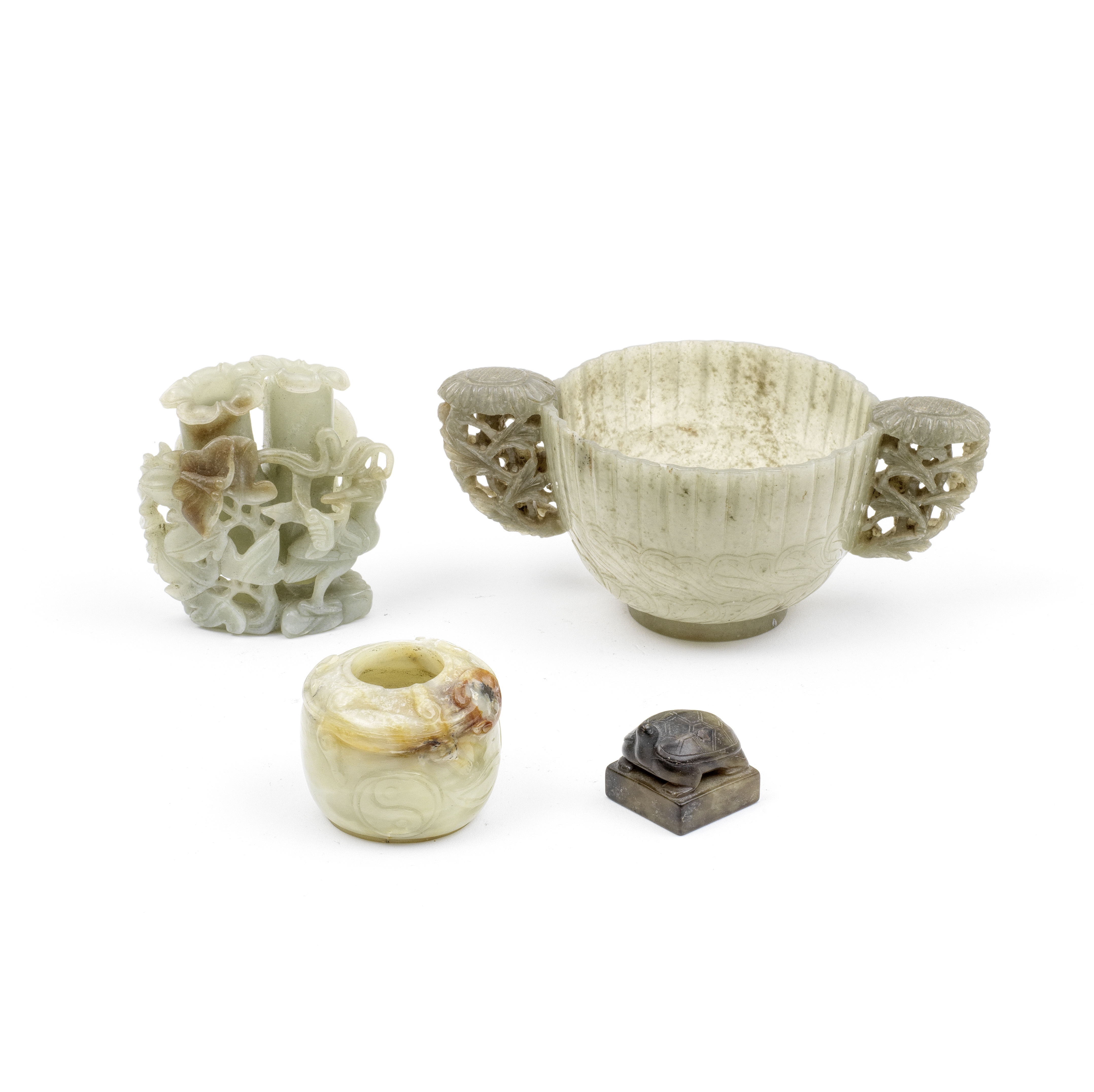 A GROUP OF THREE JADE VESSELS AND ONE SEAL 17th/18th century and later (4)