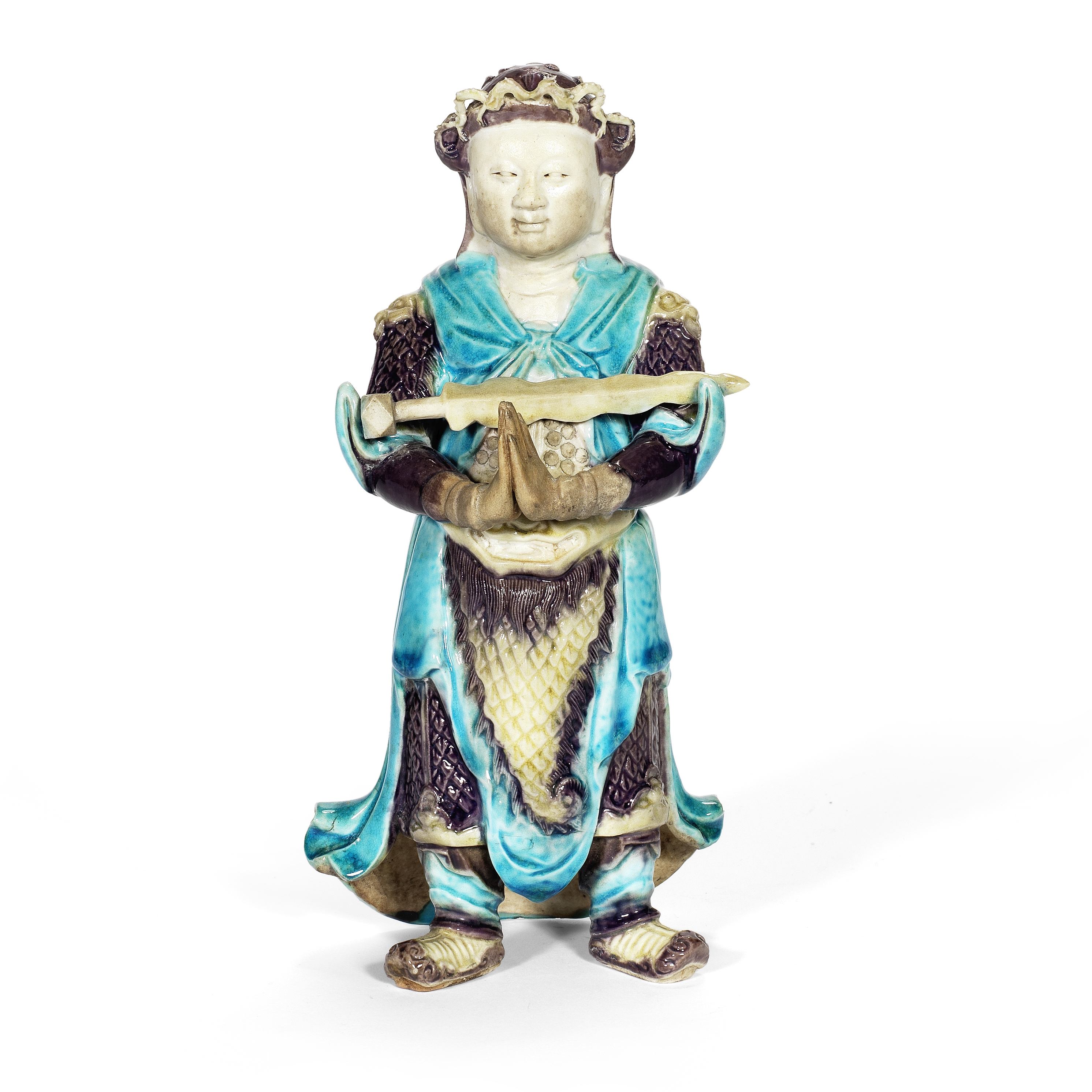 A FAHUA-GLAZED BISCUIT FIGURE OF WEITUO Kangxi
