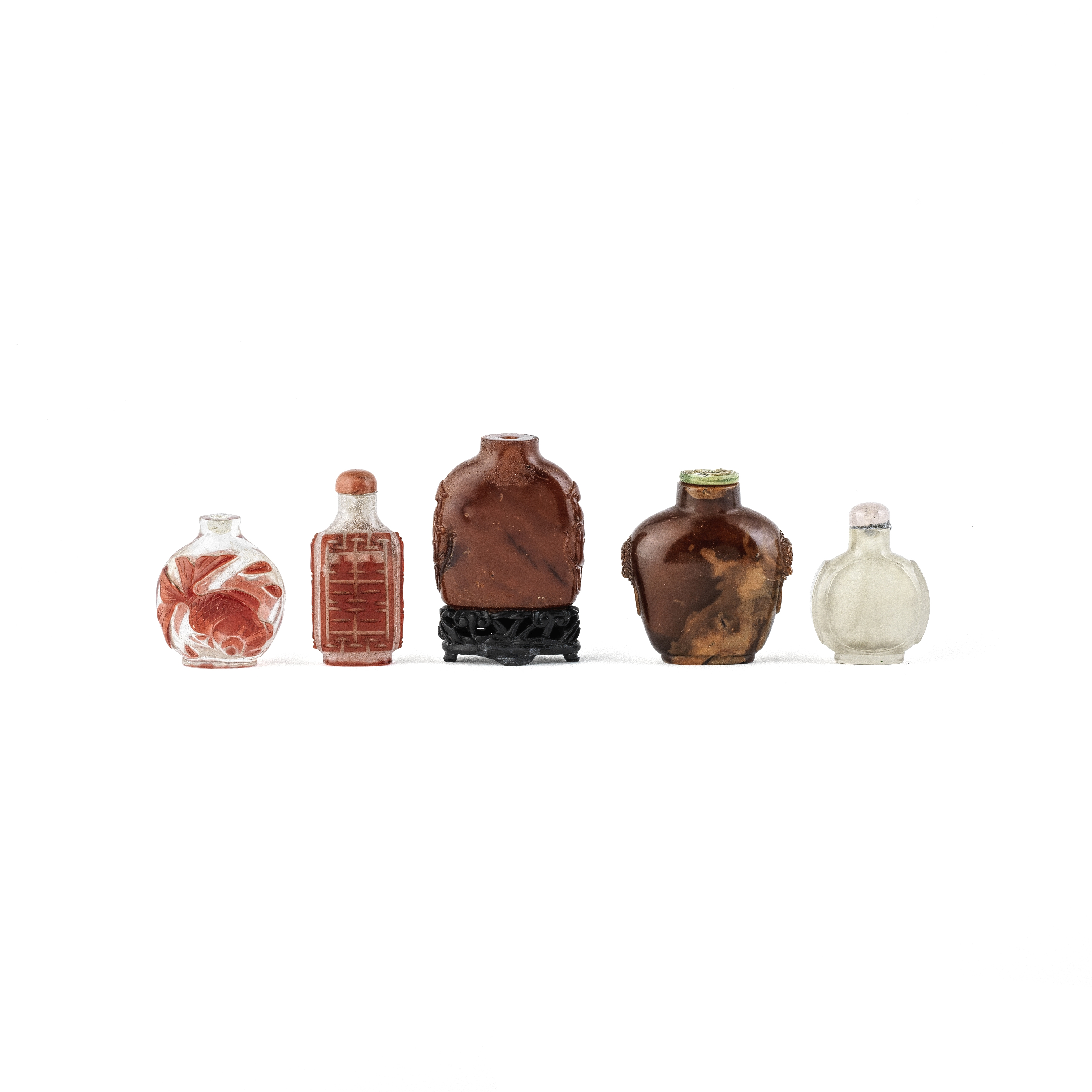 A GROUP OF FIVE VARIOUS SNUFF BOTTLES 19th century (8)