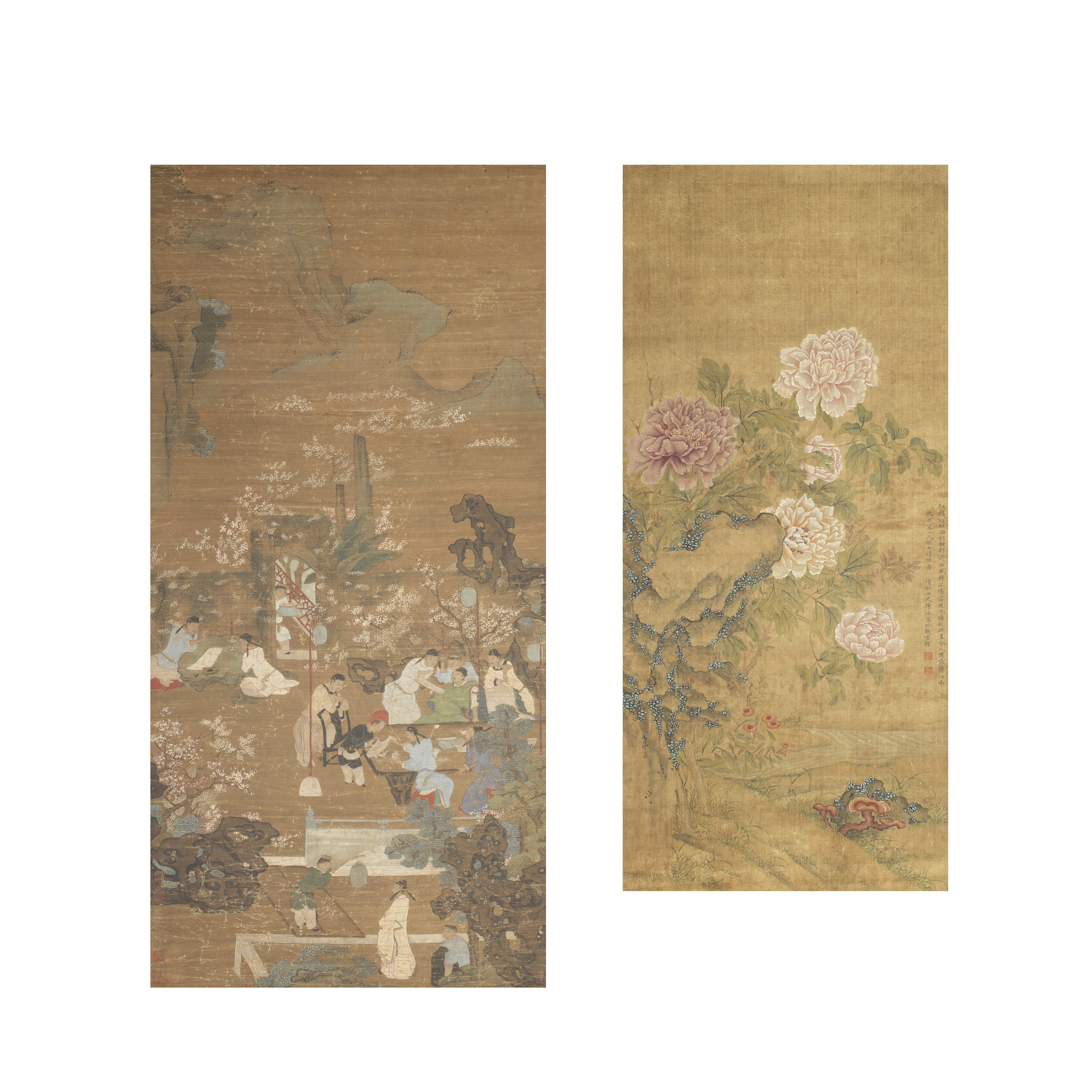 ANONYMOUS (19TH CENTURY) AND IN THE MANNER OF YUN BING (1772-1823) 'Figures in a garden setting' ...
