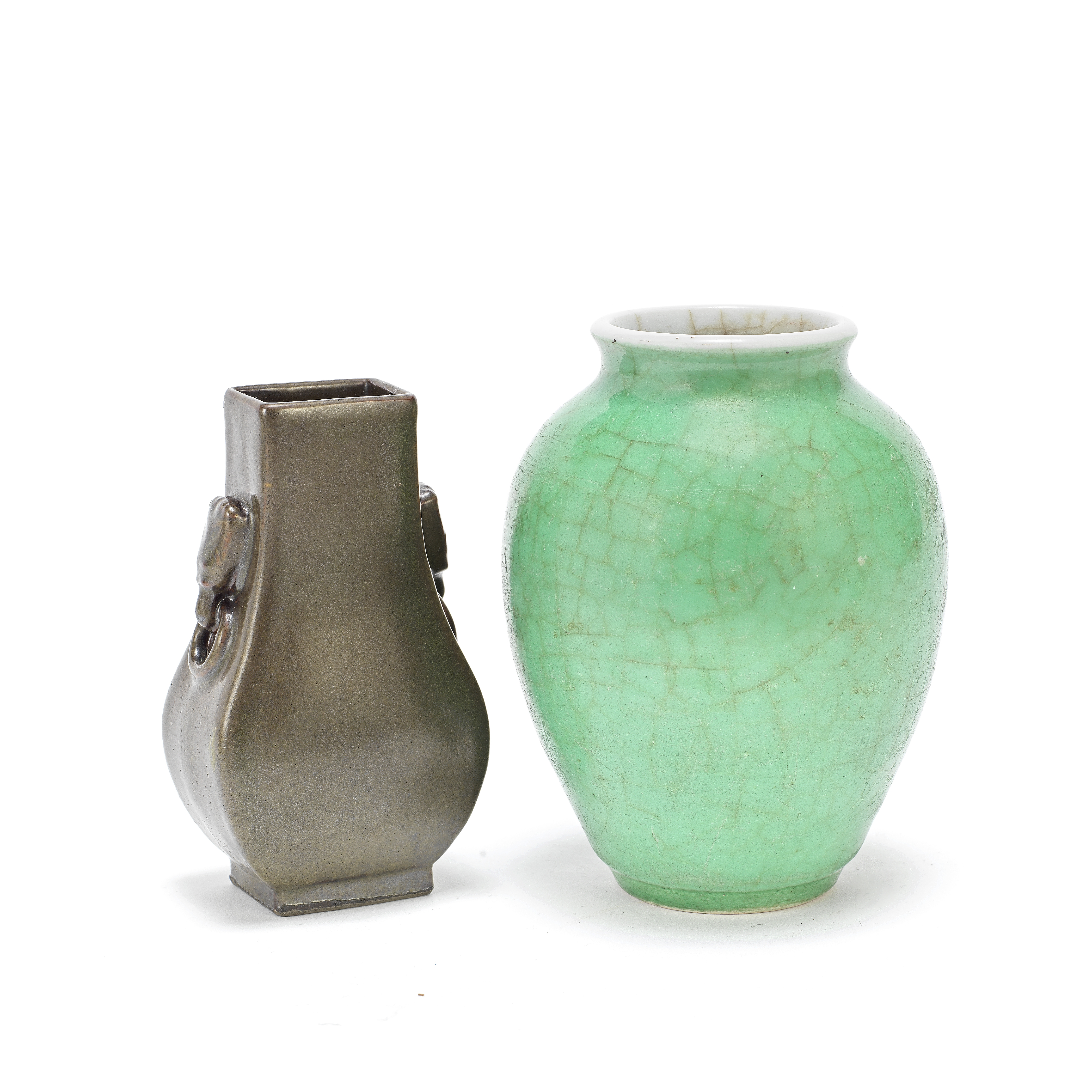 A SMALL APPLE-GREEN 'LANGYAO' JAR AND A TEADUST-GLAZED SQUARE PEAR-SHAPED VASE, HU Qing Dynasty, ...