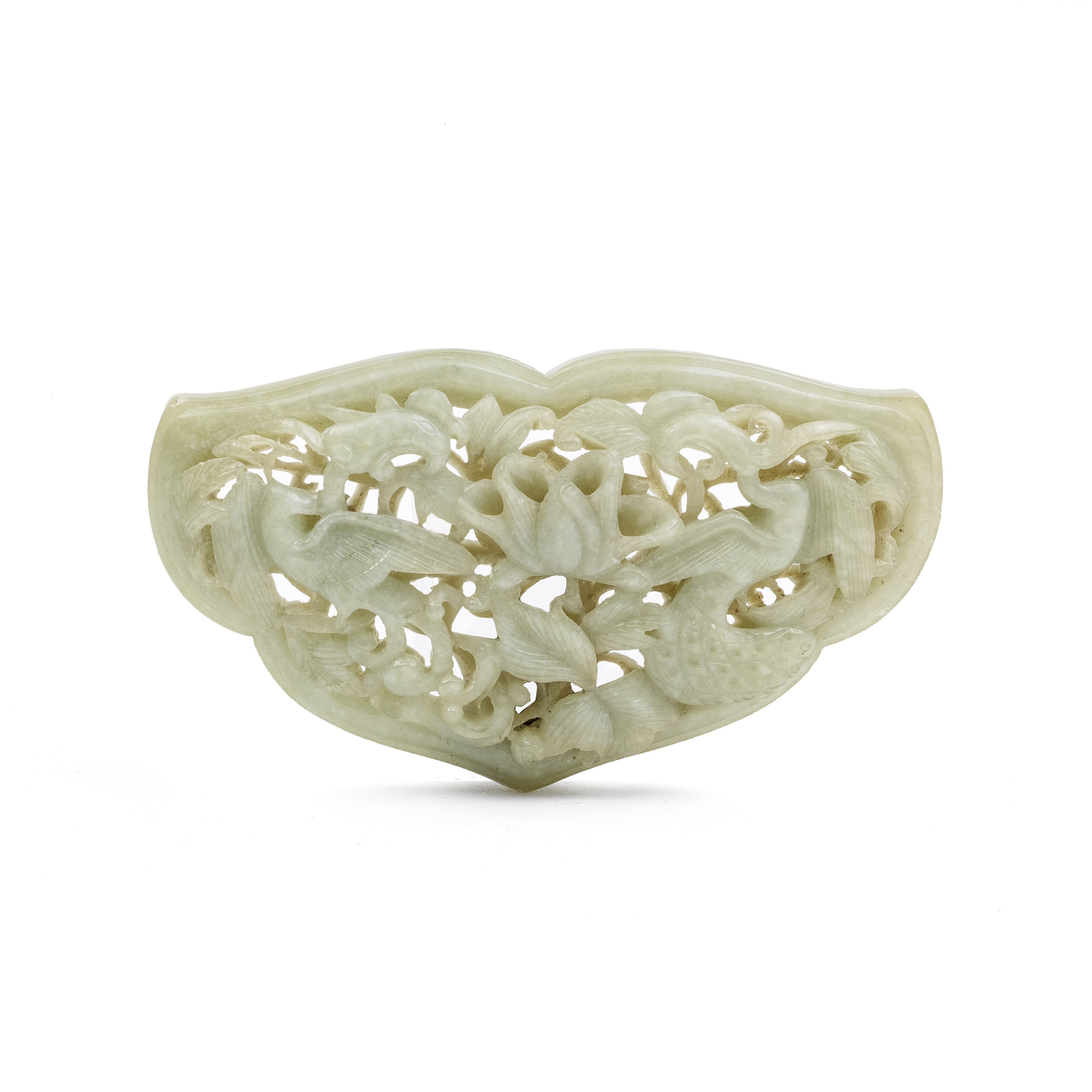 A RETICULATED JADE RUYI-FORM PLAQUE Possibly Yuan Dynasty