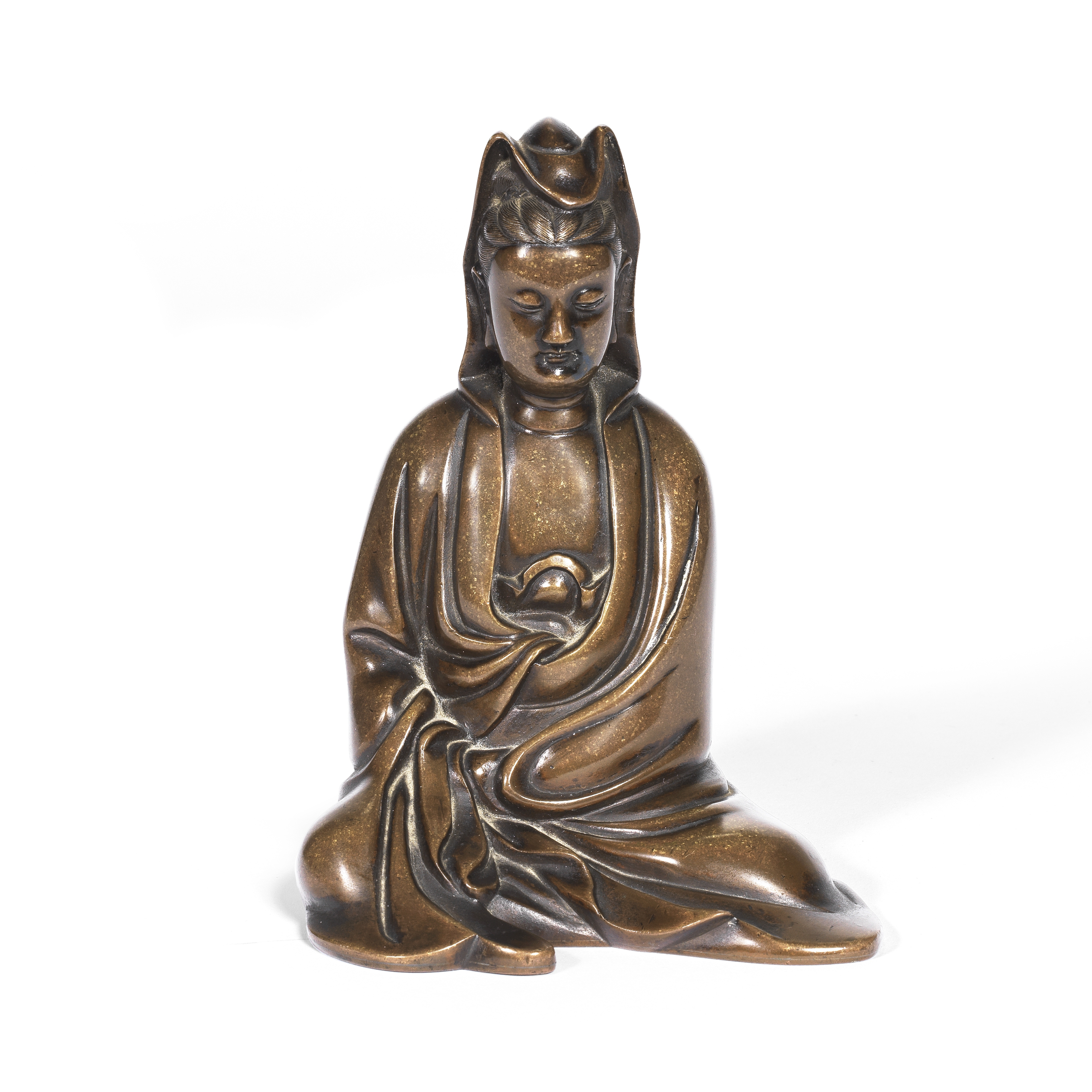 A BRONZE SEATED FIGURE OF GUANYIN 17th/18th century (2)