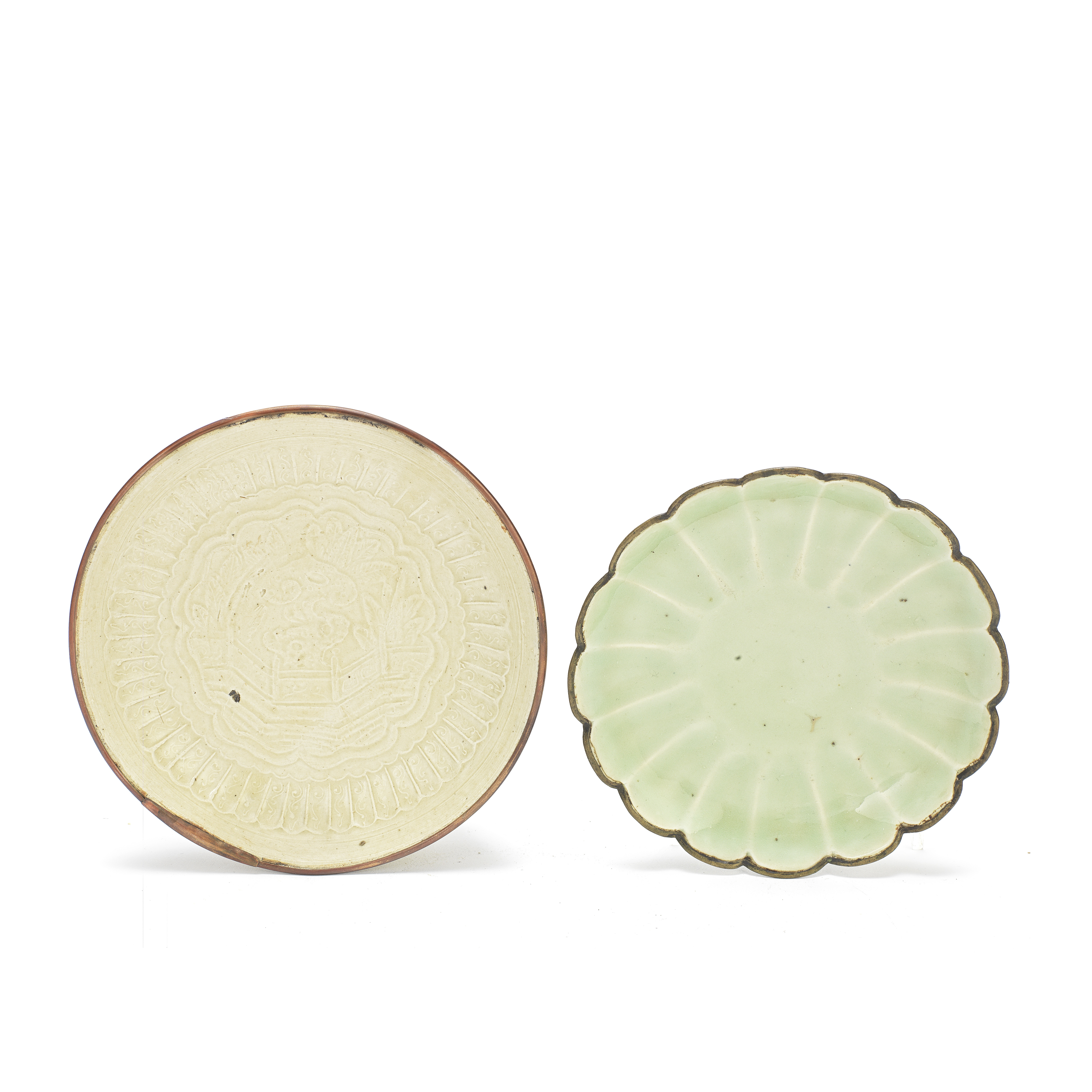 A SMALL LONGQUAN CELADON-GLAZED DISH AND A MOULDED DING SAUCER DISH 13th century (2)