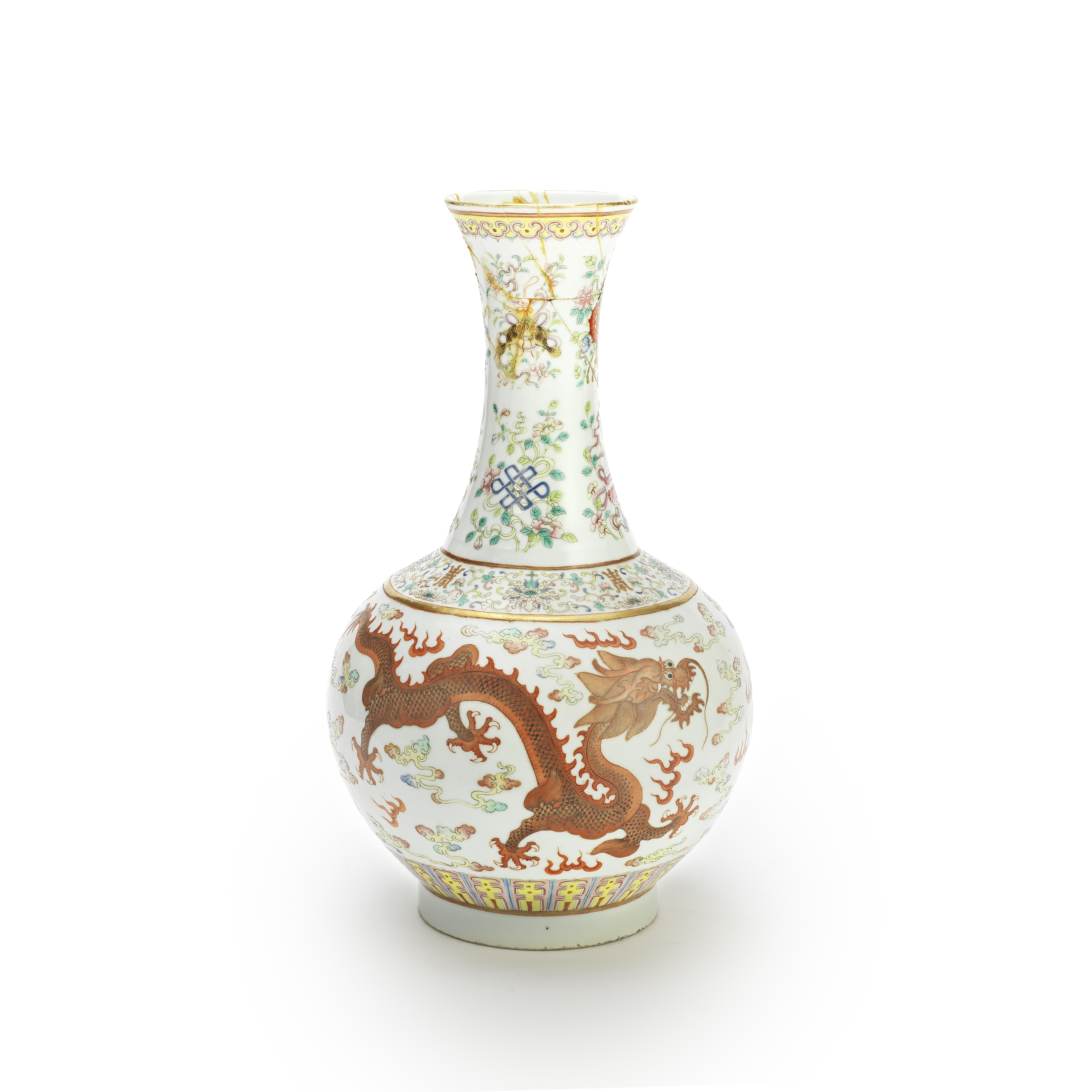 A FAMILLE ROSE 'PHOENIX AND DRAGON' VASE Iron-red Guangxu six-character mark