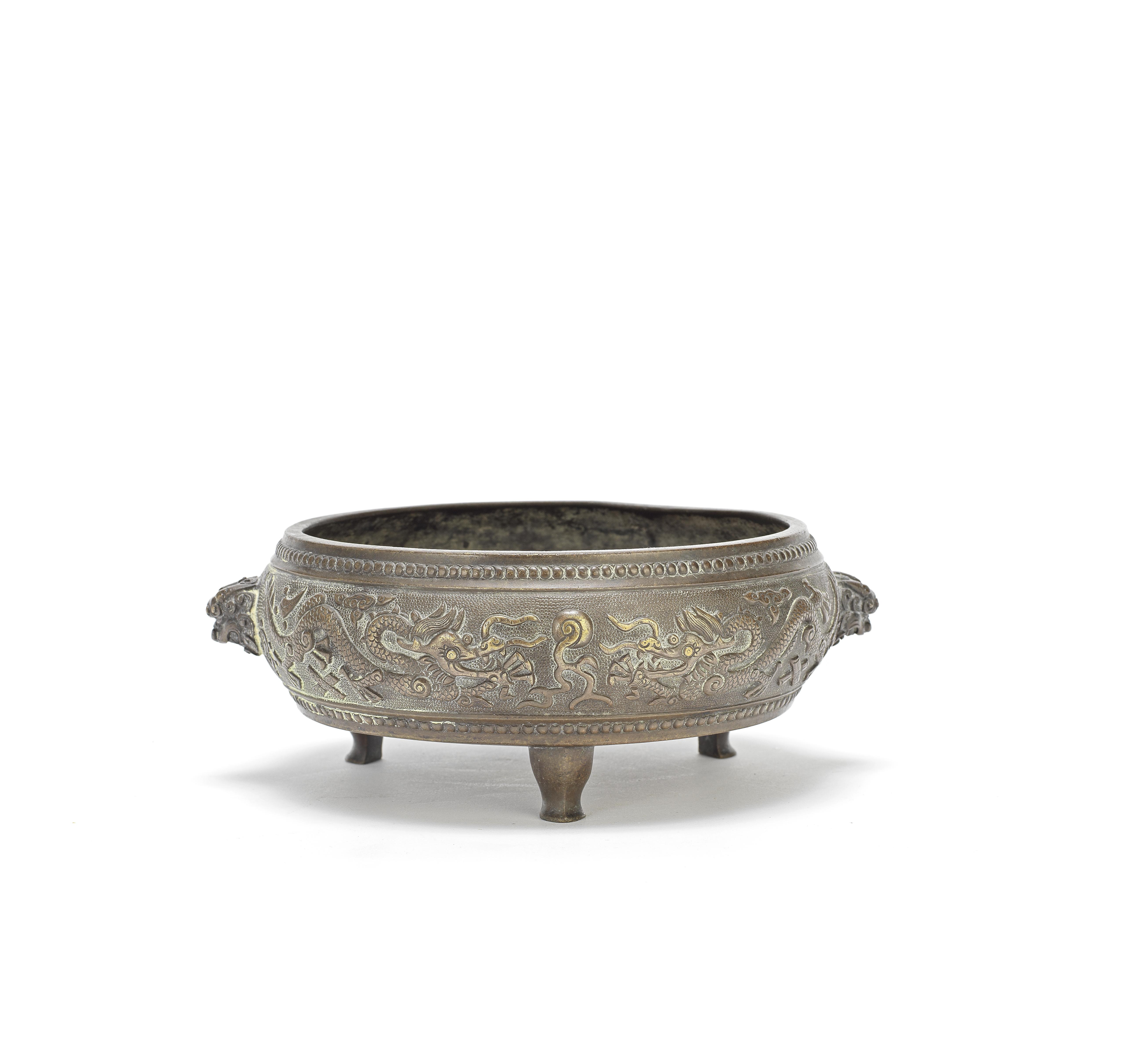 A BRONZE TRIPOD INCENSE BURNER Qing Dynasty