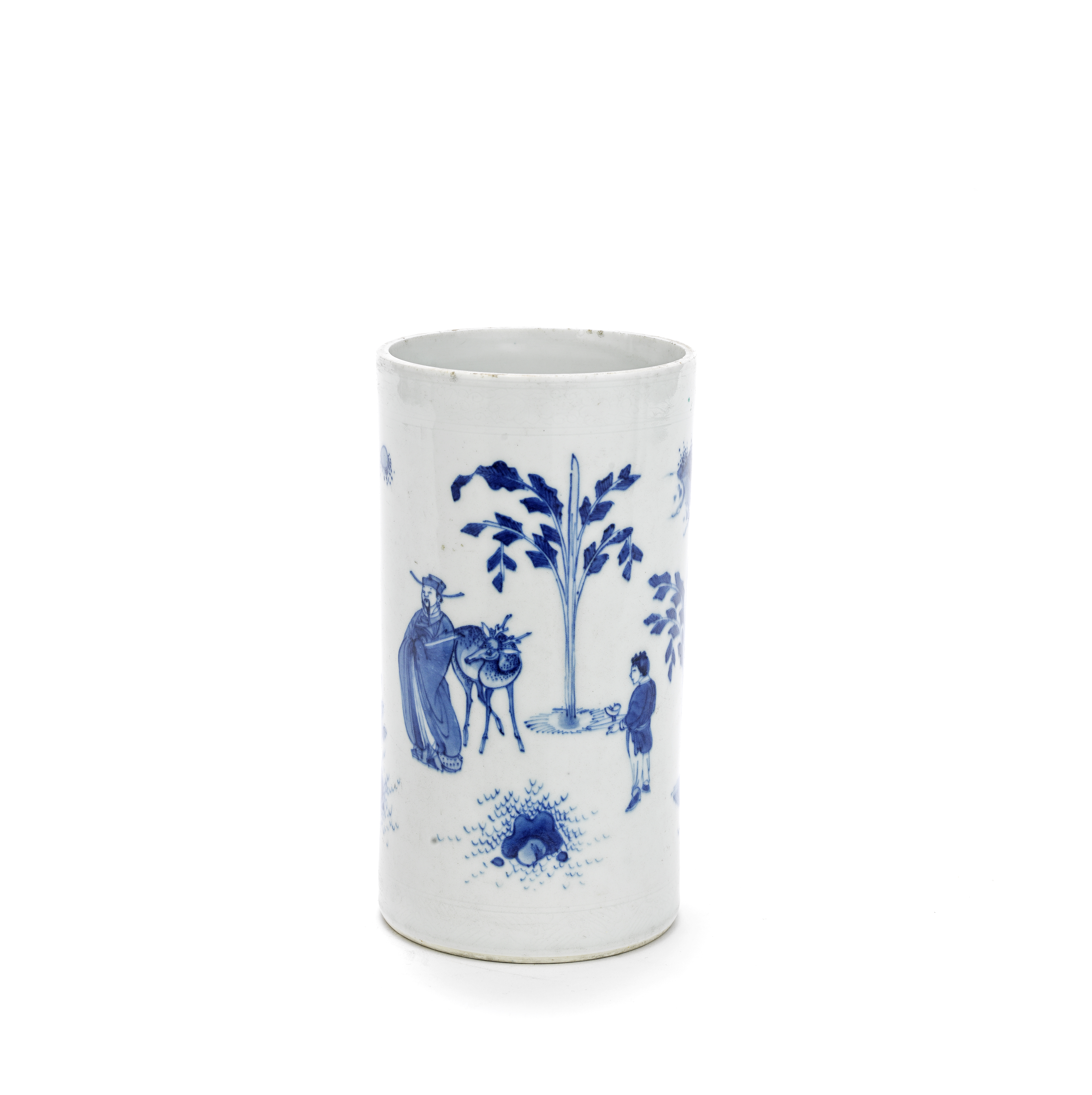 A BLUE AND WHITE 'SCHOLAR AND DEER' BRUSHPOT Probably Chongzhen