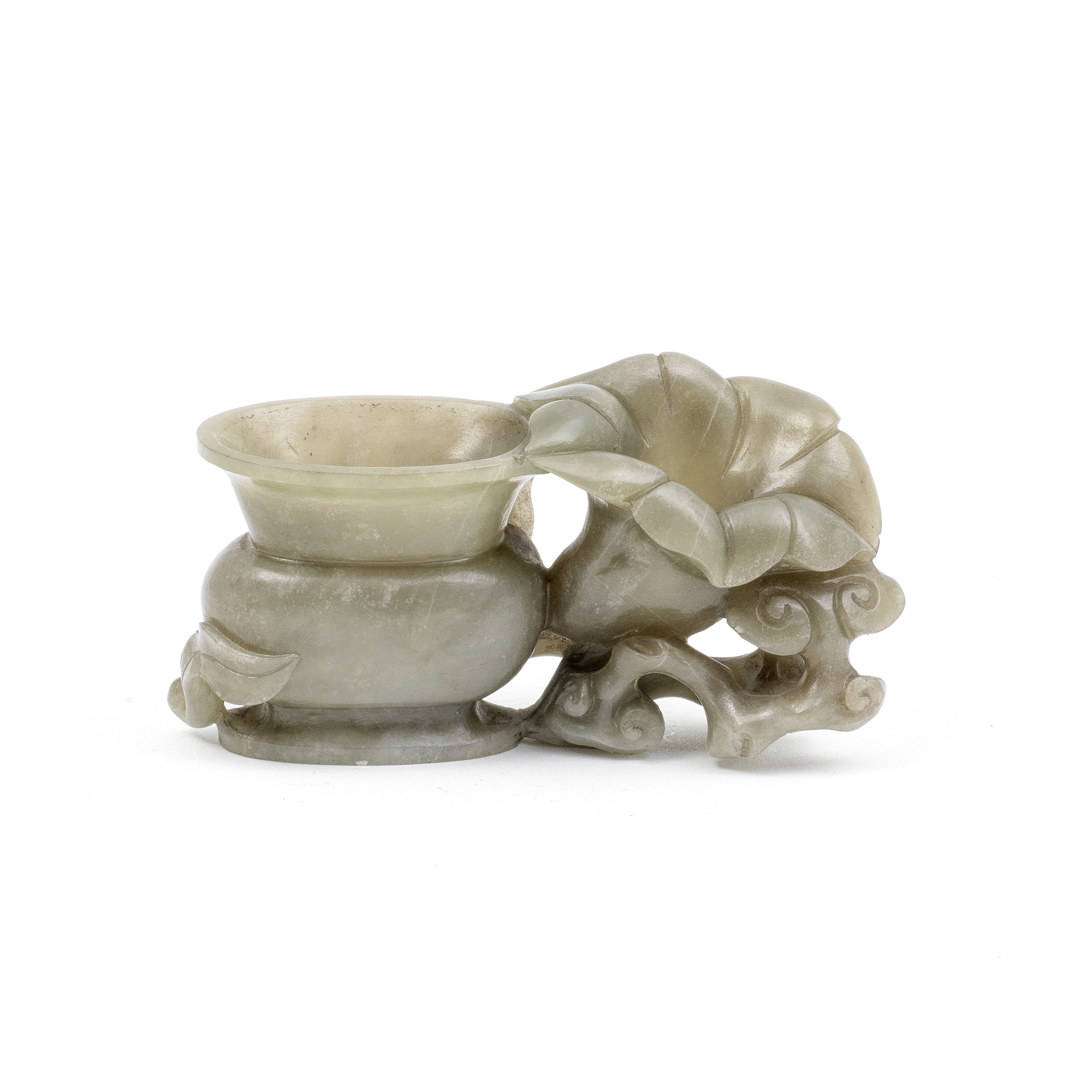 A GREEN JADE 'VASE AND MAGNOLIA' GROUP Qing Dynasty (2)