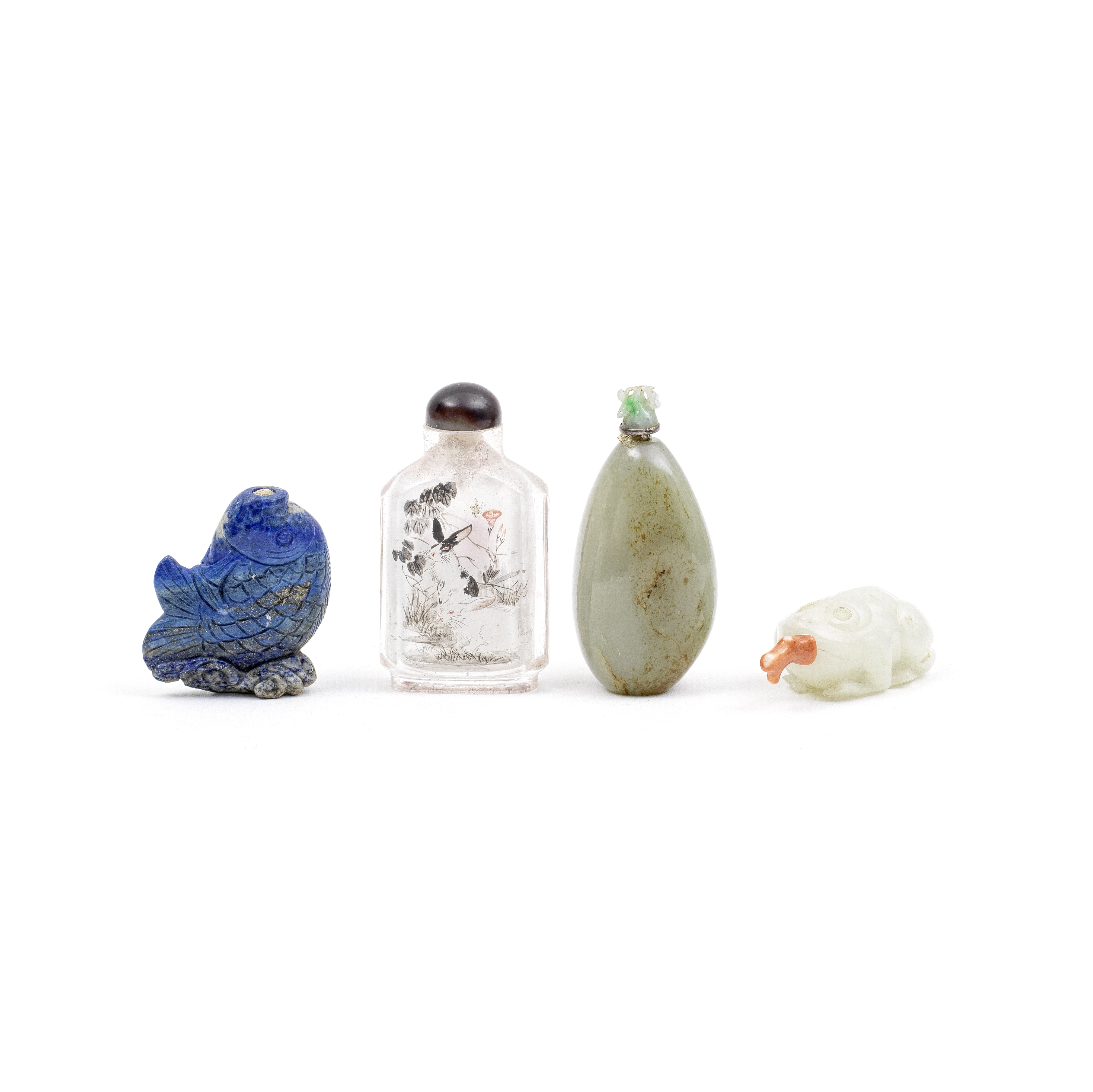 A GROUP OF FOUR VARIOUS SNUFF BOTTLES Qing Dynasty and later (7)