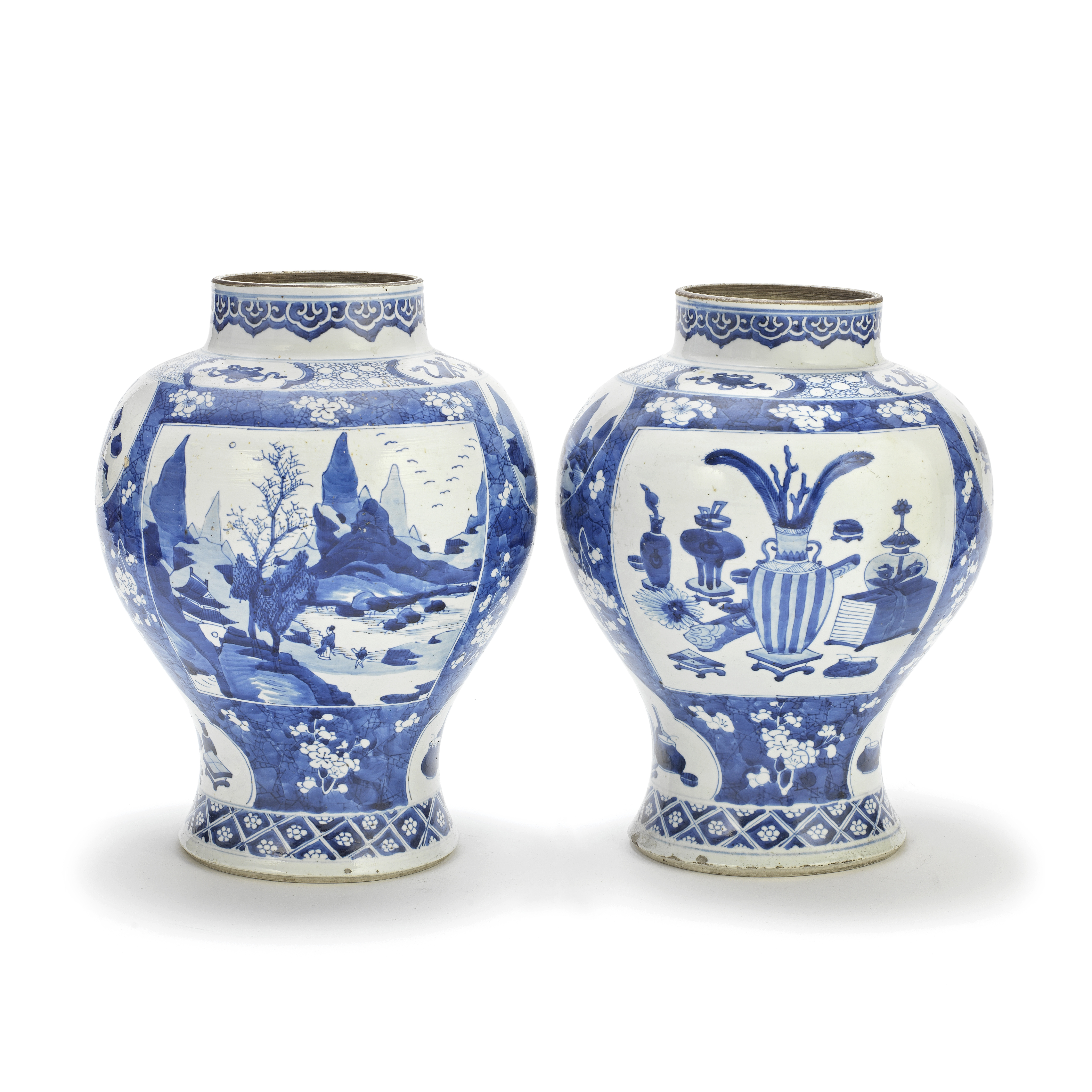 A PAIR OF KANGXI-REVIVAL BLUE AND WHITE JARS 19th century (2)
