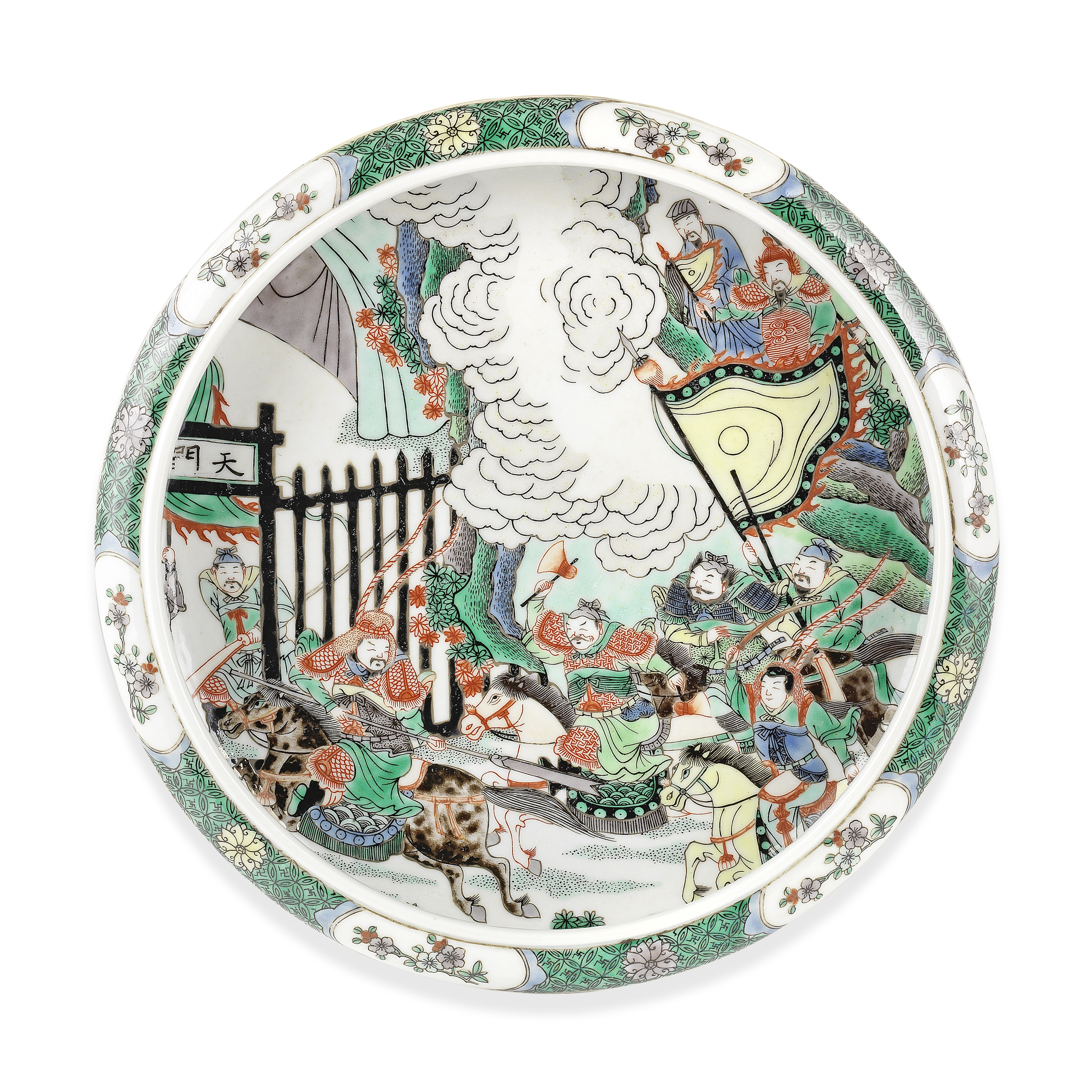 A FAMILLE VERTE SHALLOW BOWL Kangxi six-character mark, late Qing Dynasty