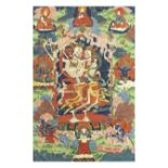 A BLUE AND GREEN GROUND 'CITIPATI' THANGKA Tibet, 19th century