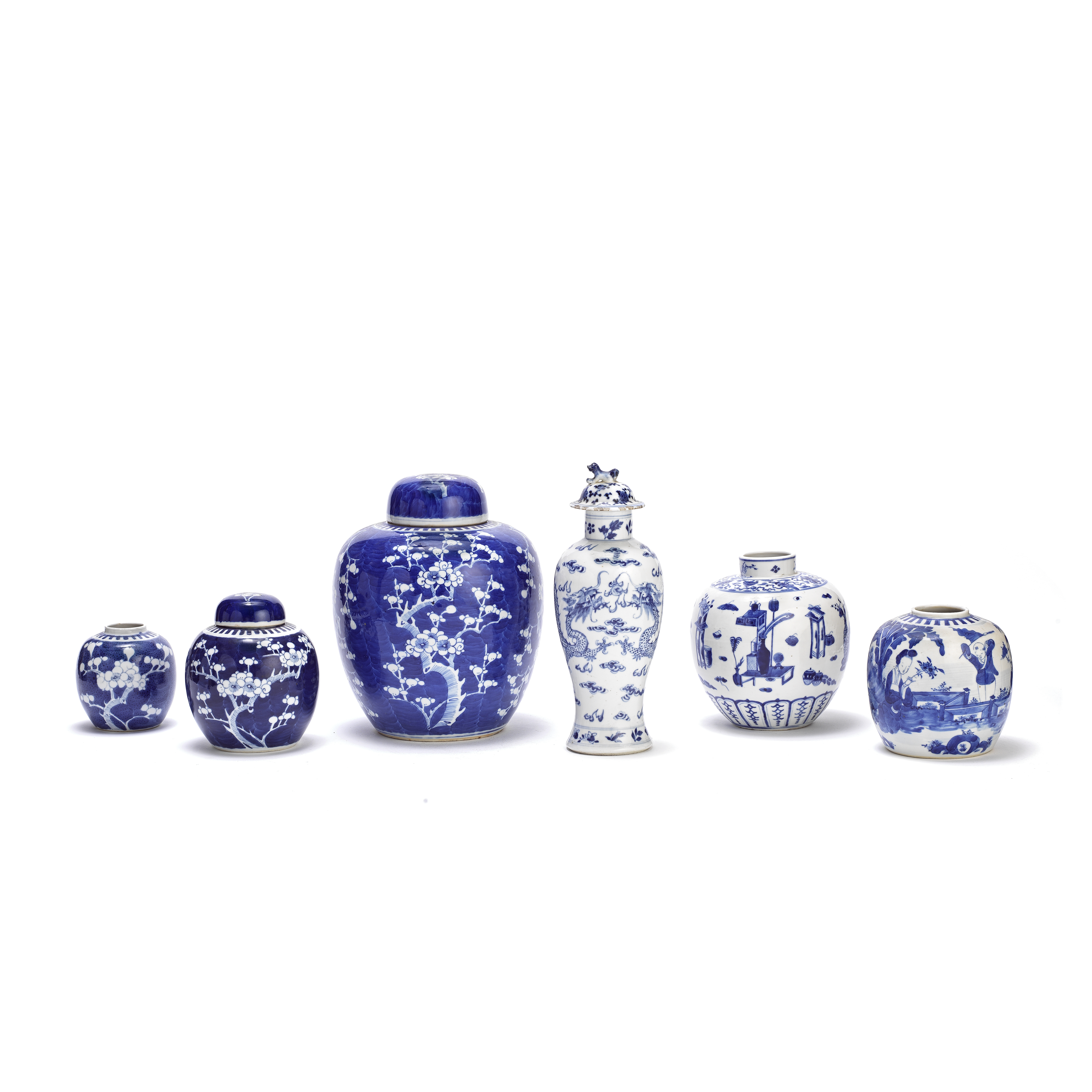 A GROUP OF SIX BLUE AND WHITE JARS 19th/20th century (9)
