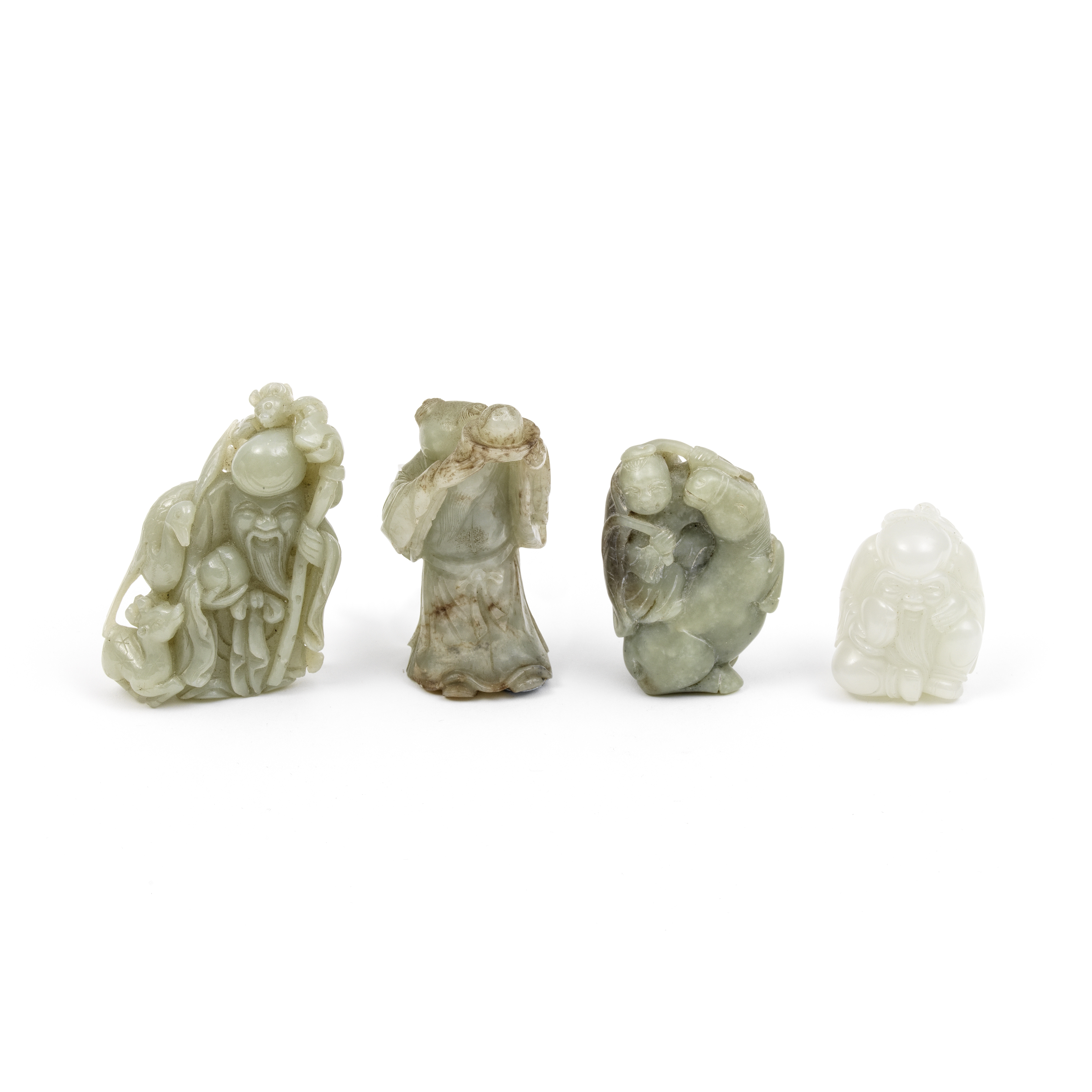 FOUR JADE FIGURAL GROUPS The Immortal with peach, 18th/19th century (4)