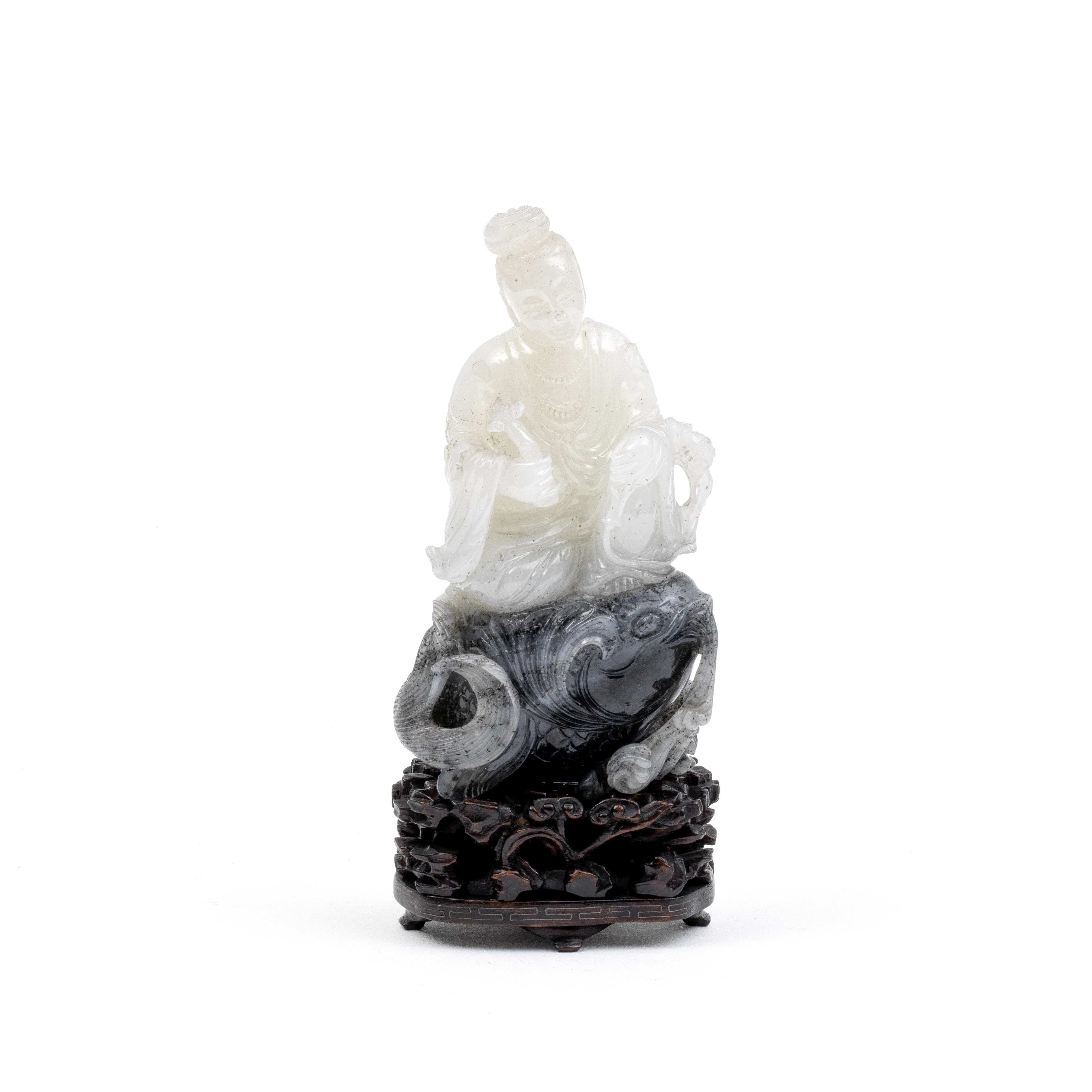 A WHITE AND GREY JADE 'LADY ON A CARP' GROUP Late Qing Dynasty (2)