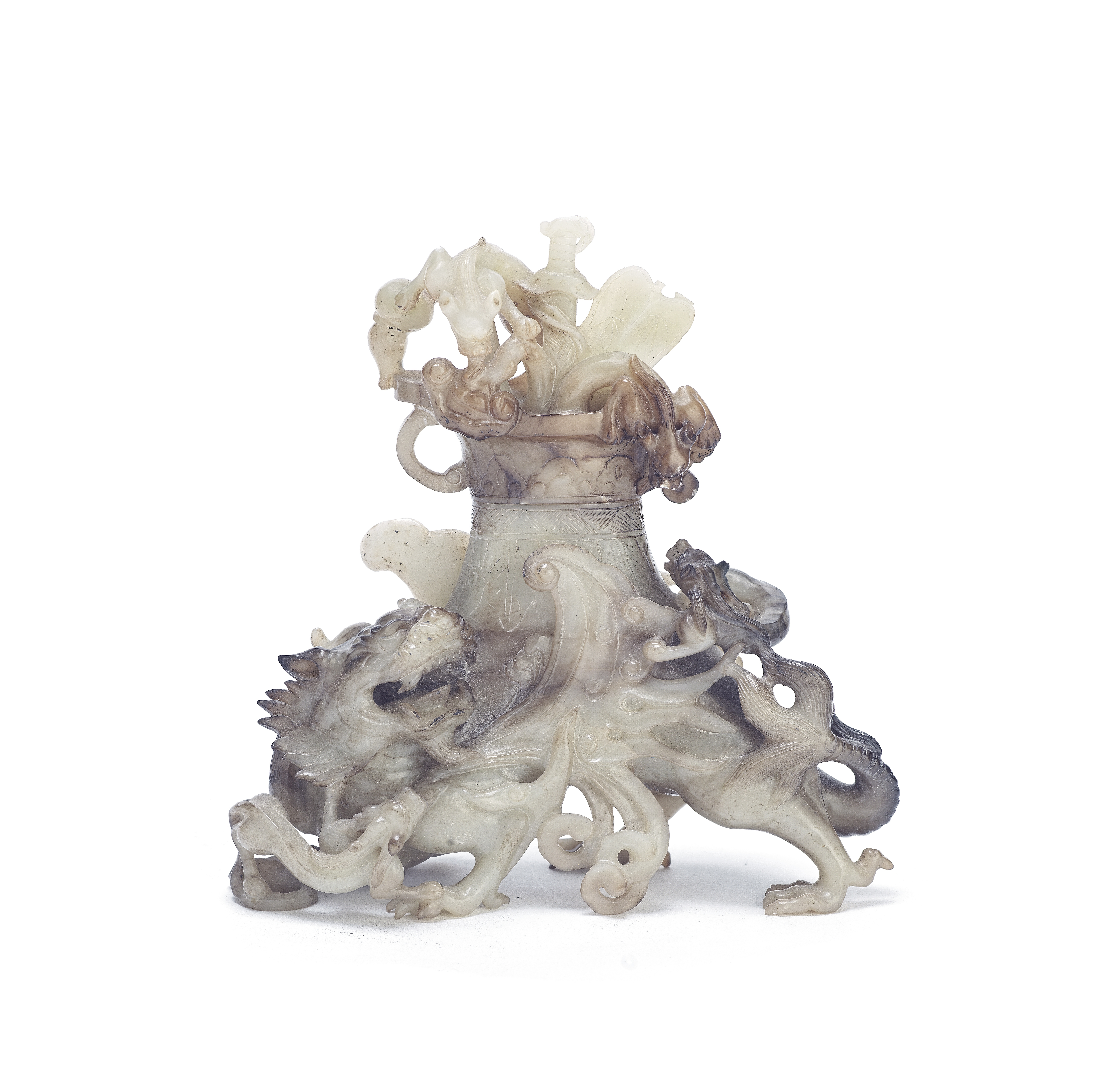 A black and white jade 'mythical beast' vase and cover Late Qing Dynasty/Republic Period (4)