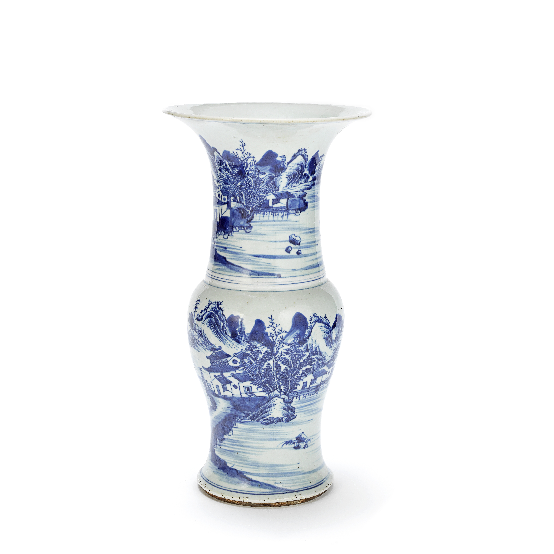 A BLUE AND WHITE BALUSTER VASE, YEN-YEN 19th century