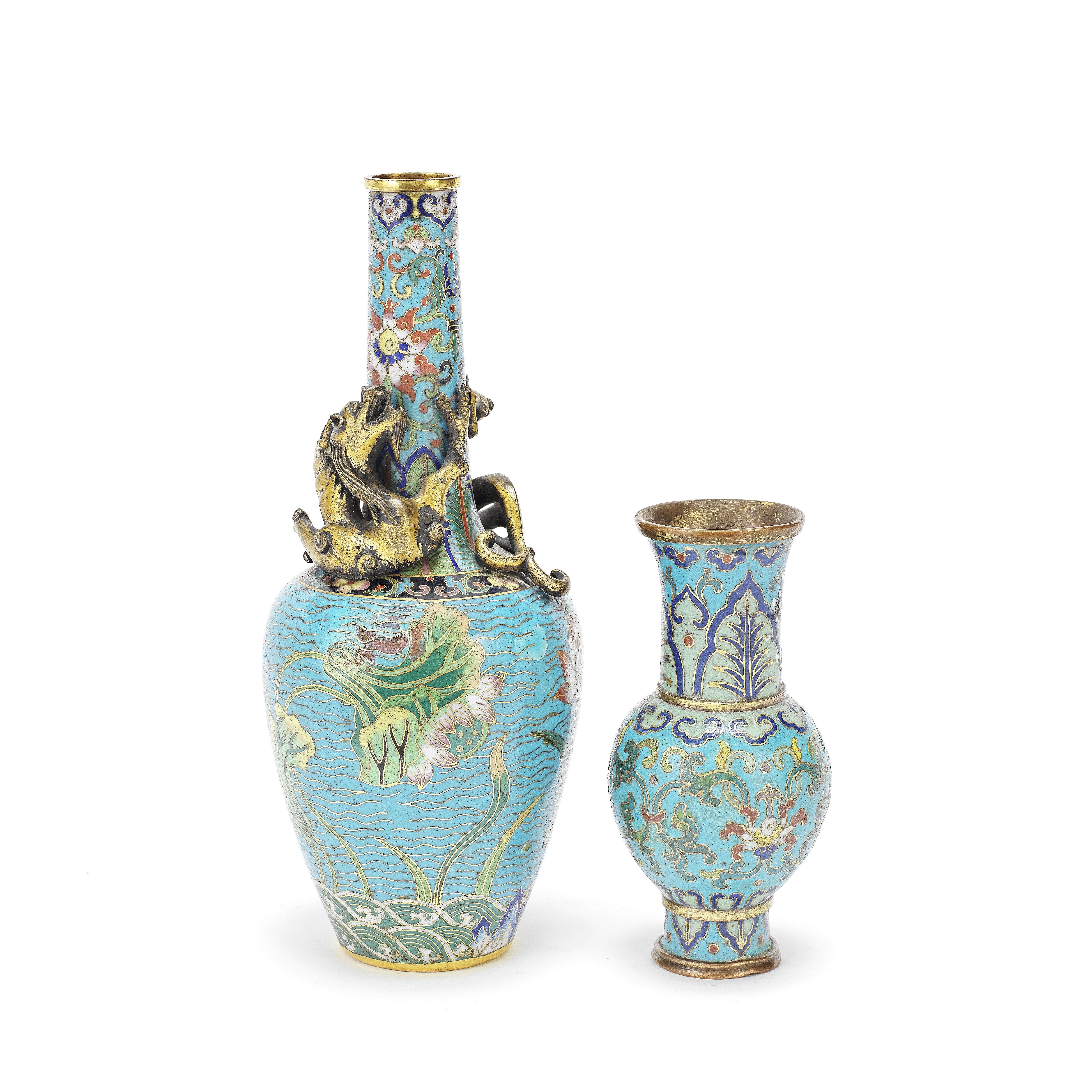TWO CLOISONNÉ-ENAMEL VASES Qianlong and 19th century (2)