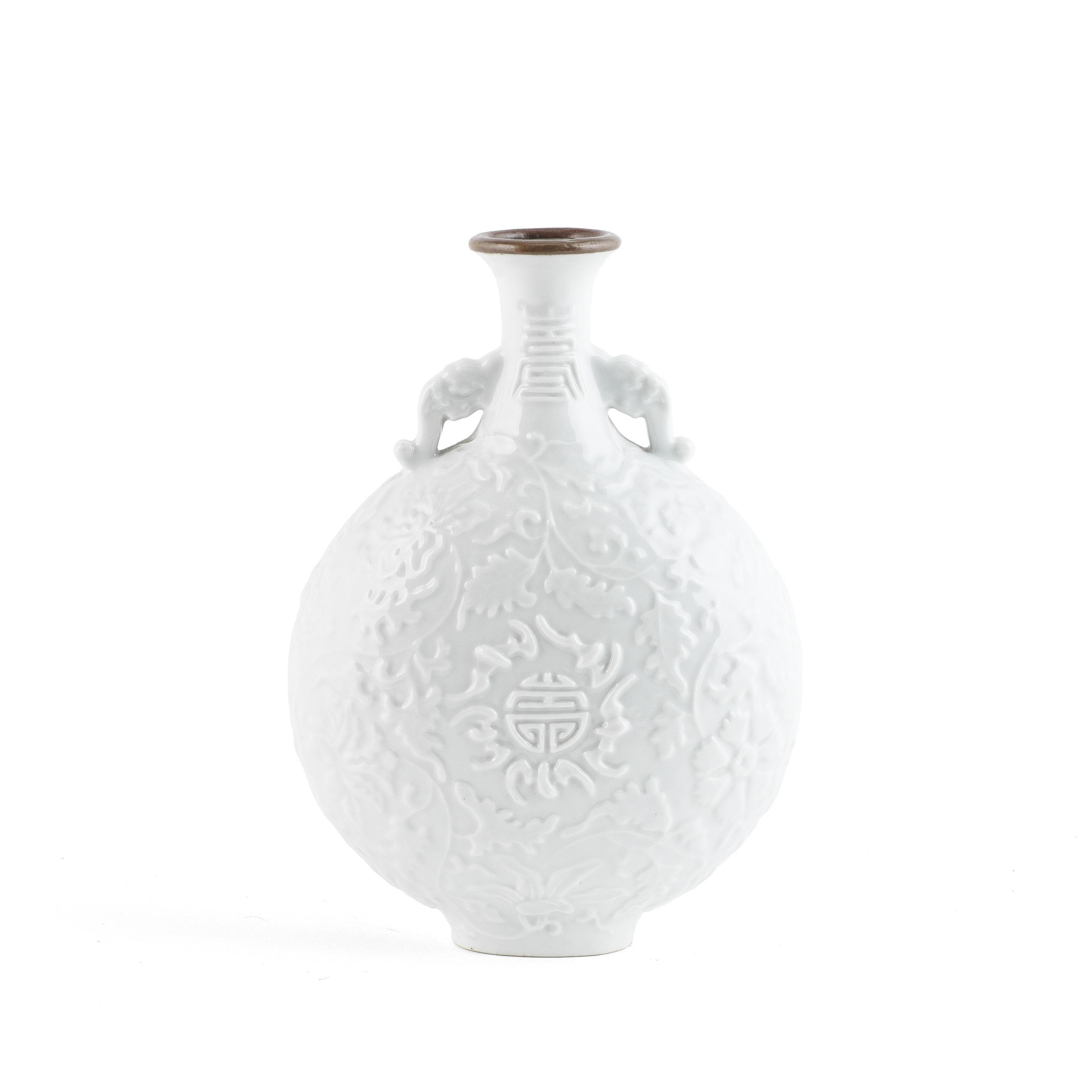 A MOULDED WHITE-GLAZED MOONFLASK Qianlong