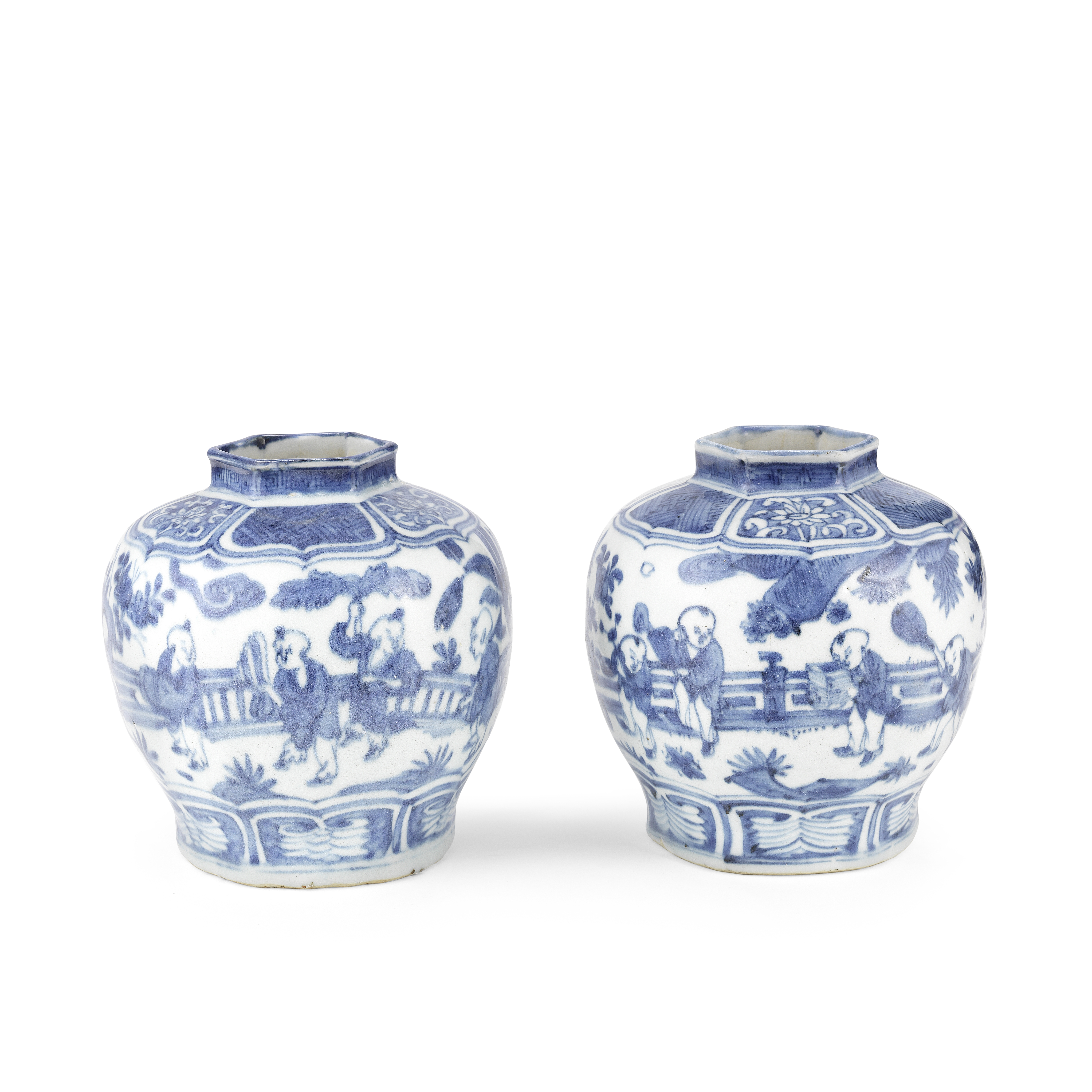 A PAIR OF BLUE AND WHITE 'BOYS' JARS Wanli (2)