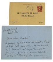 JEAN COCTEAU (1889-1963) Lettre autographe adressée à André Gide(?) évocant l...