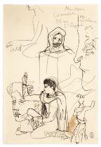 JEAN COCTEAU (1889-1963) Composition autour de la Machine Infernale ( recto); Profil de femme (ve...