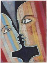JEAN COCTEAU (1889-1963) Deux Visages de profil, face à face (Exécuté en 1959 s...