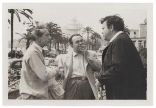 J. FENEYROL Jean Cocteau, Orson Wells, Edward G. Robinson au Festival de Cannes; Cocteau le magn...