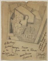 JEAN COCTEAU (1889-1963) Portrait de Picasso-cubiste (signed, dated and dedicated à Massine ...