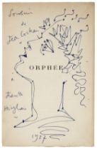 JEAN COCTEAU (1889-1963) Profil d'Orphée aux lauriers (Exécuté en 1957 signed, da...