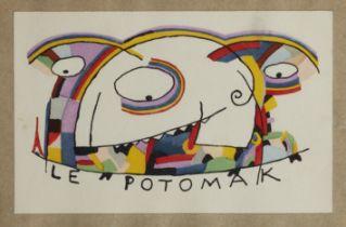 JEAN COCTEAU (1889-1963) Le Potomak (Conçu en 1914 pochoir laid down onto an envelope (as i...