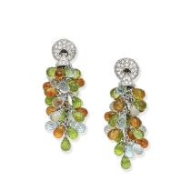 DIAMOND AND GEM-SET PENDENT EARCLIPS