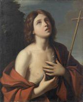 After Giovanni Francesco Barbieri, called il Guercino, 19th Century Saint John the Baptist unframed