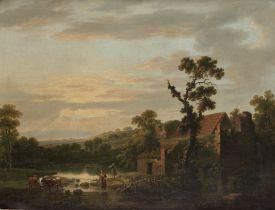 Jean Baptiste Lallemand (Dijon 1716-circa 1803 Paris) Figures in a river landscape at sunset
