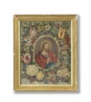 Circle of Andries Daniels (Antwerp circa 1580-after 1640) Christ as Salvator Mundi surrounded by ...