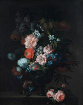 Attributed to Pieter Hardime (Antwerp 1677-1758) Roses, tulips, carnations and other flowers in a...