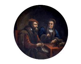 After David Teniers the Younger, 17th Century The Covetous Man 20.9cm. (8 1/4 in.) diameter
