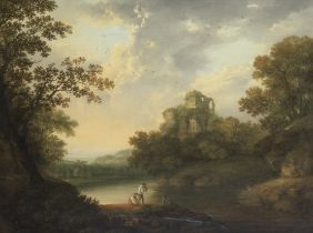 Circle of Richard Wilson R.A (Penegoes 1713-1782 Mold) Figures by a river in a landscape