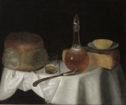 George Smith of Chichester (Chichester 1714-1776) Cheese, bread, a glass of beer and a decanter o...