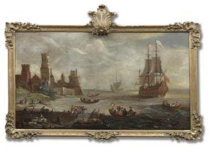 Circle of Peter van den Velde (Antwerp 1634-circa 1724) A Mediterranean harbour scene with fisher...