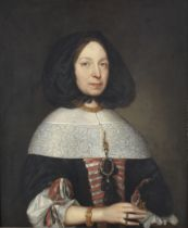 Attributed to Pieter Borselaer (Middelburg circa 1640-1731) Portrait of a lady, half-length, in a...