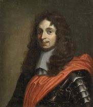 French School, 17th Century Portrait of a gentleman, half-length, in armour with a red sash